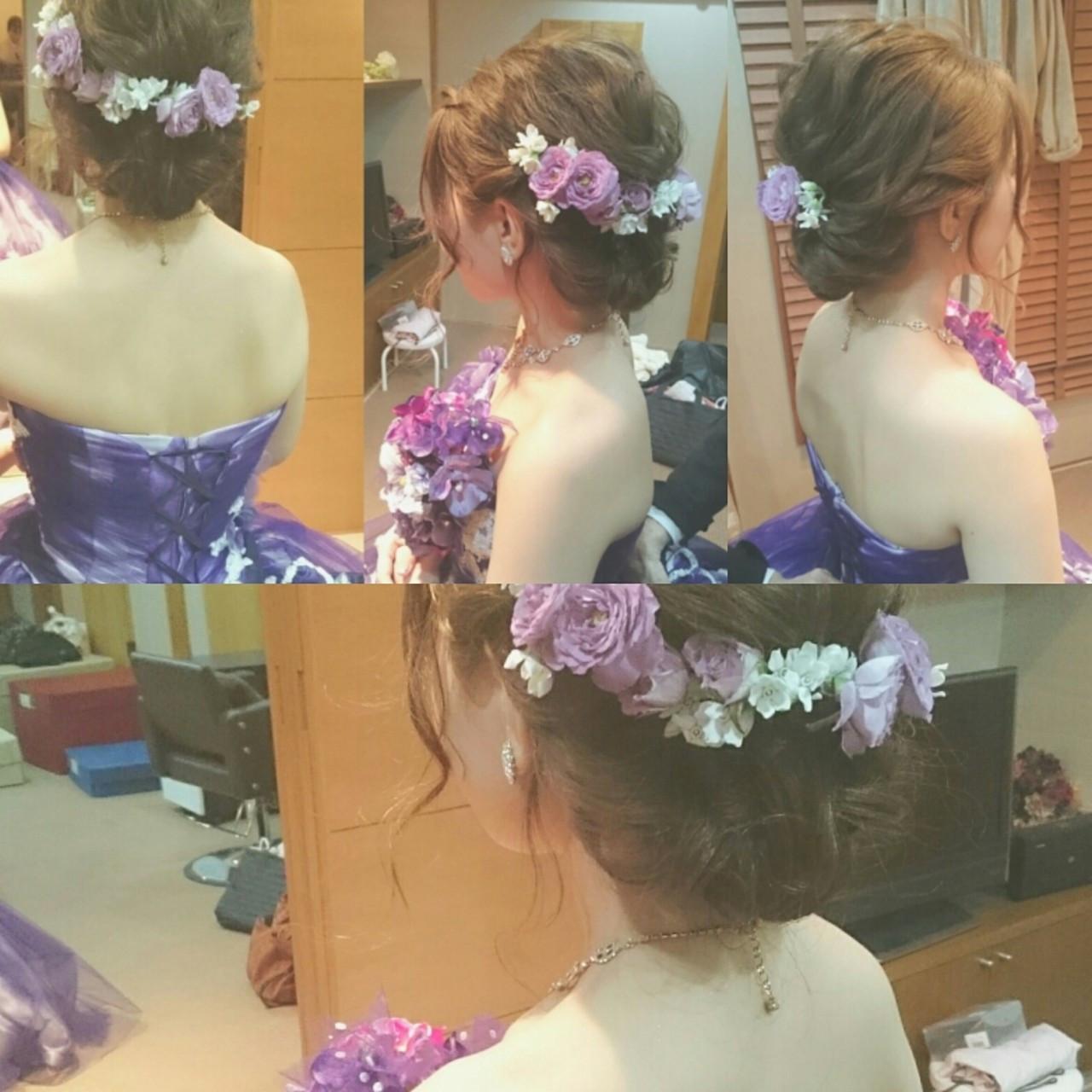 ドレス セミロング ヘアアレンジ ブライダル ヘアスタイルや髪型の写真・画像