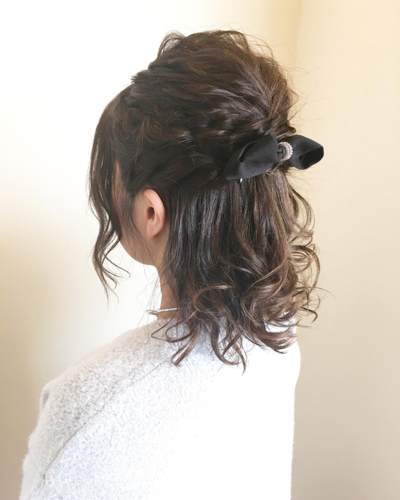 ヘアアレンジ ミディアム 結婚式 カール ヘアスタイルや髪型の写真・画像