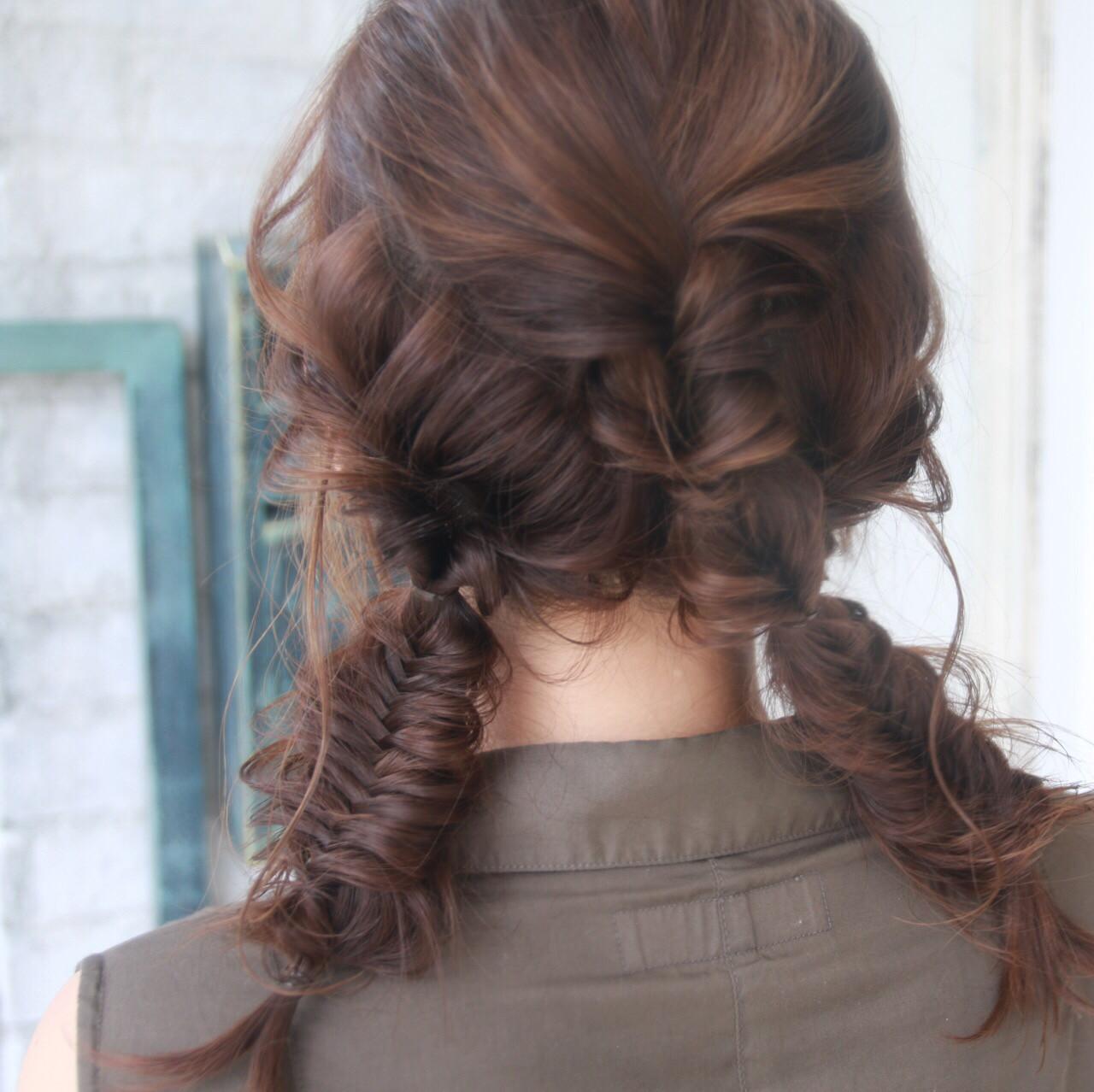 ヘアアレンジ ストリート 編み込み セミロング ヘアスタイルや髪型の写真・画像