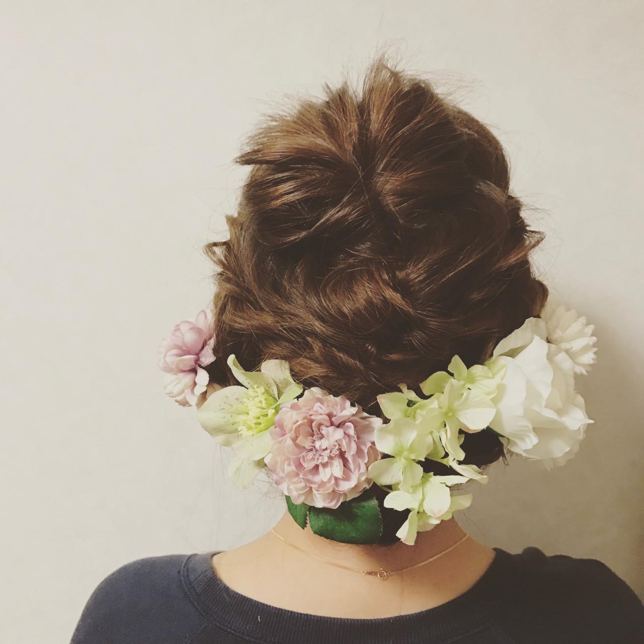 フェミニン ロング くるりんぱ 結婚式 ヘアスタイルや髪型の写真・画像