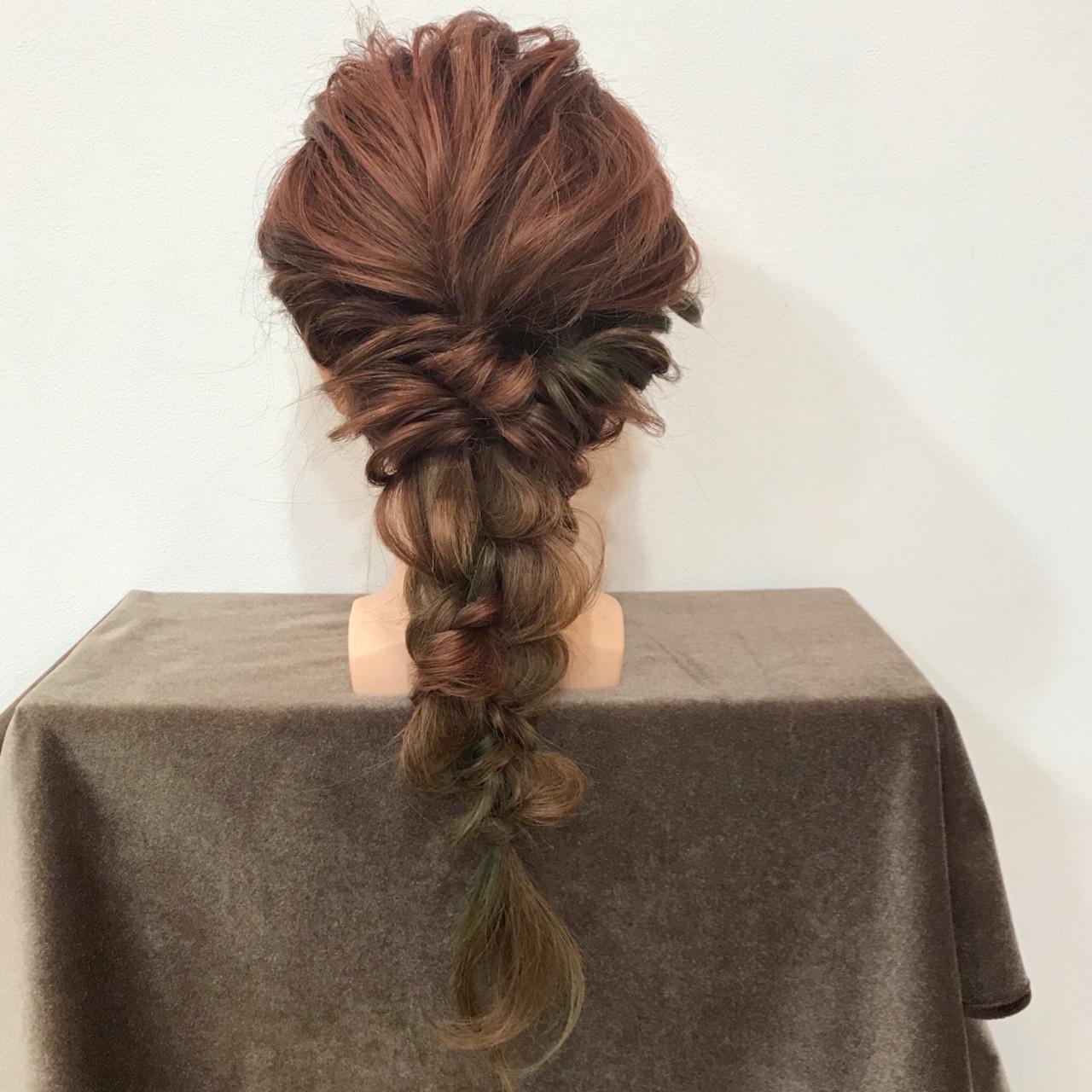 ヘアアレンジ 編み込み ロング 三つ編み ヘアスタイルや髪型の写真・画像