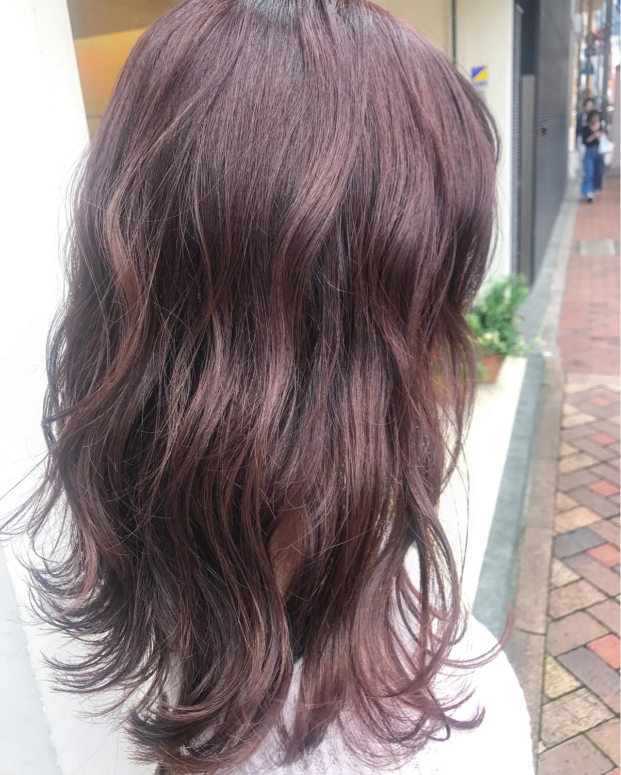 ミディアム ラベンダー ナチュラル 透明感 ヘアスタイルや髪型の写真・画像