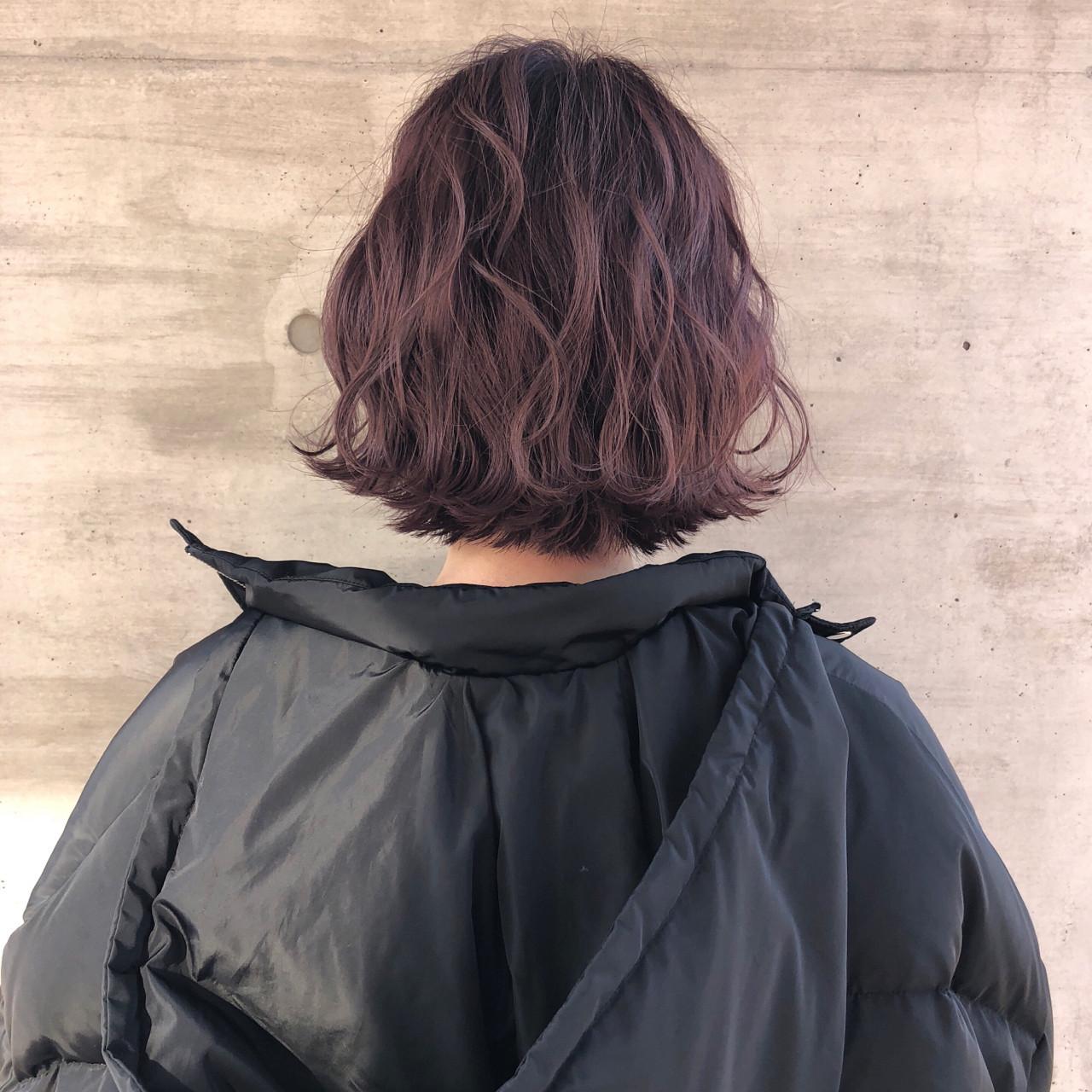 ボブ ピンクアッシュ 透明感 アンニュイ ヘアスタイルや髪型の写真・画像