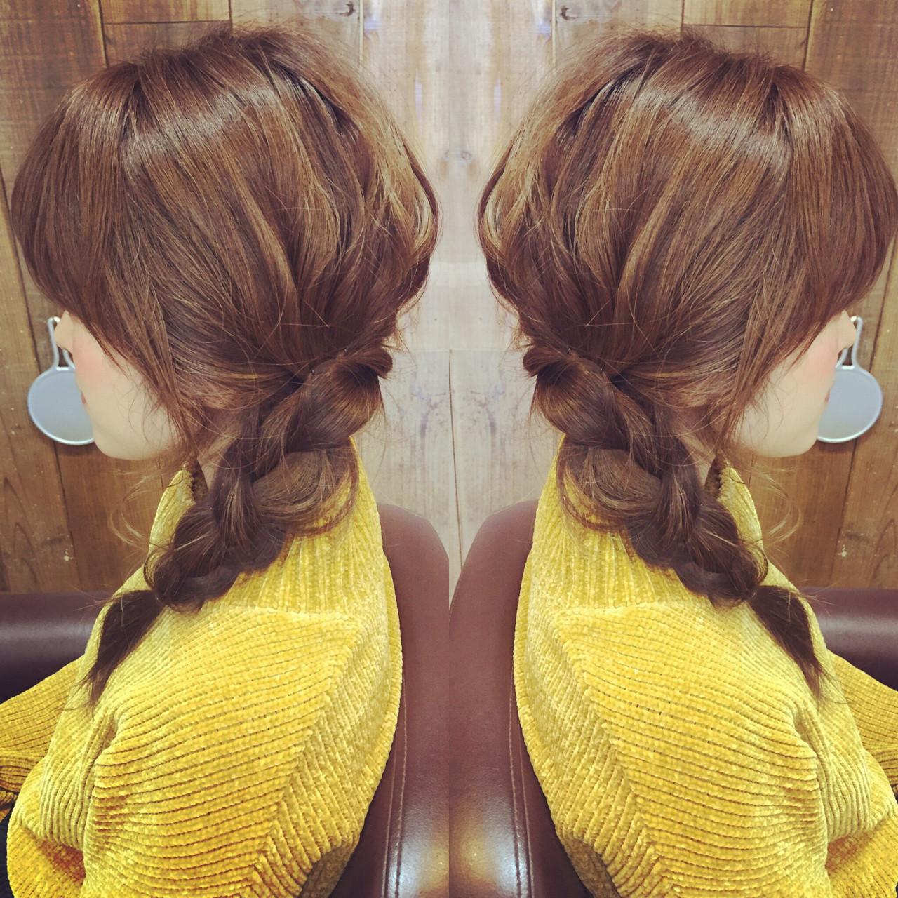 ショート ヘアアレンジ 三つ編み ガーリー ヘアスタイルや髪型の写真・画像