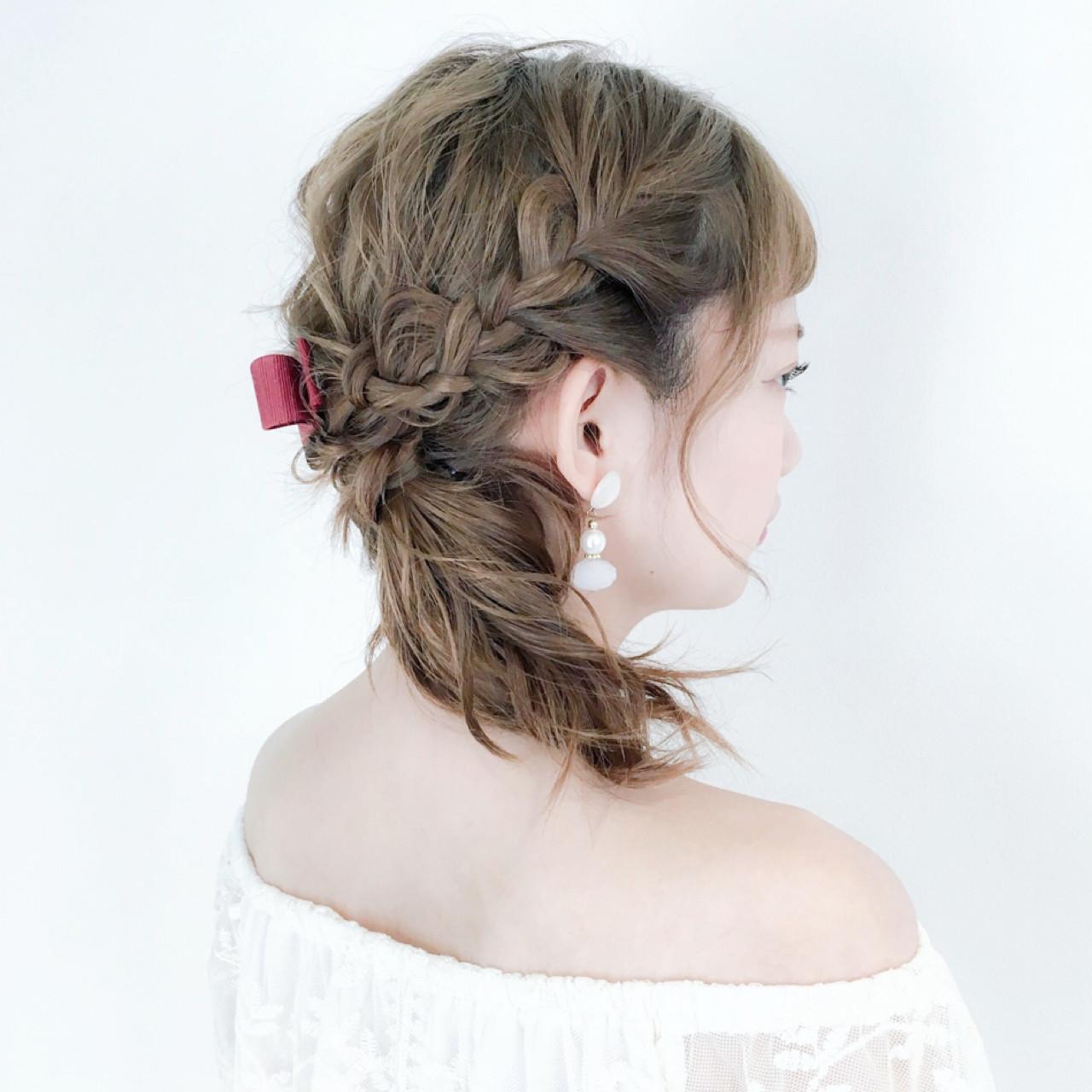 デート 編み込み フェミニン 女子会 ヘアスタイルや髪型の写真・画像