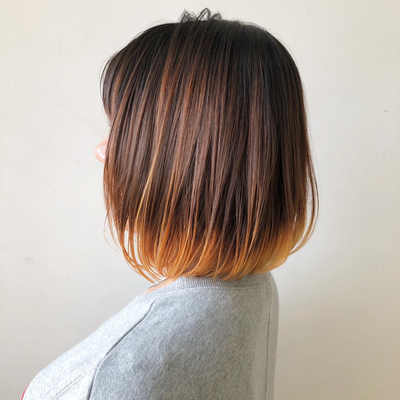 毛先オレンジのハイライトカラー Yuuta Asato