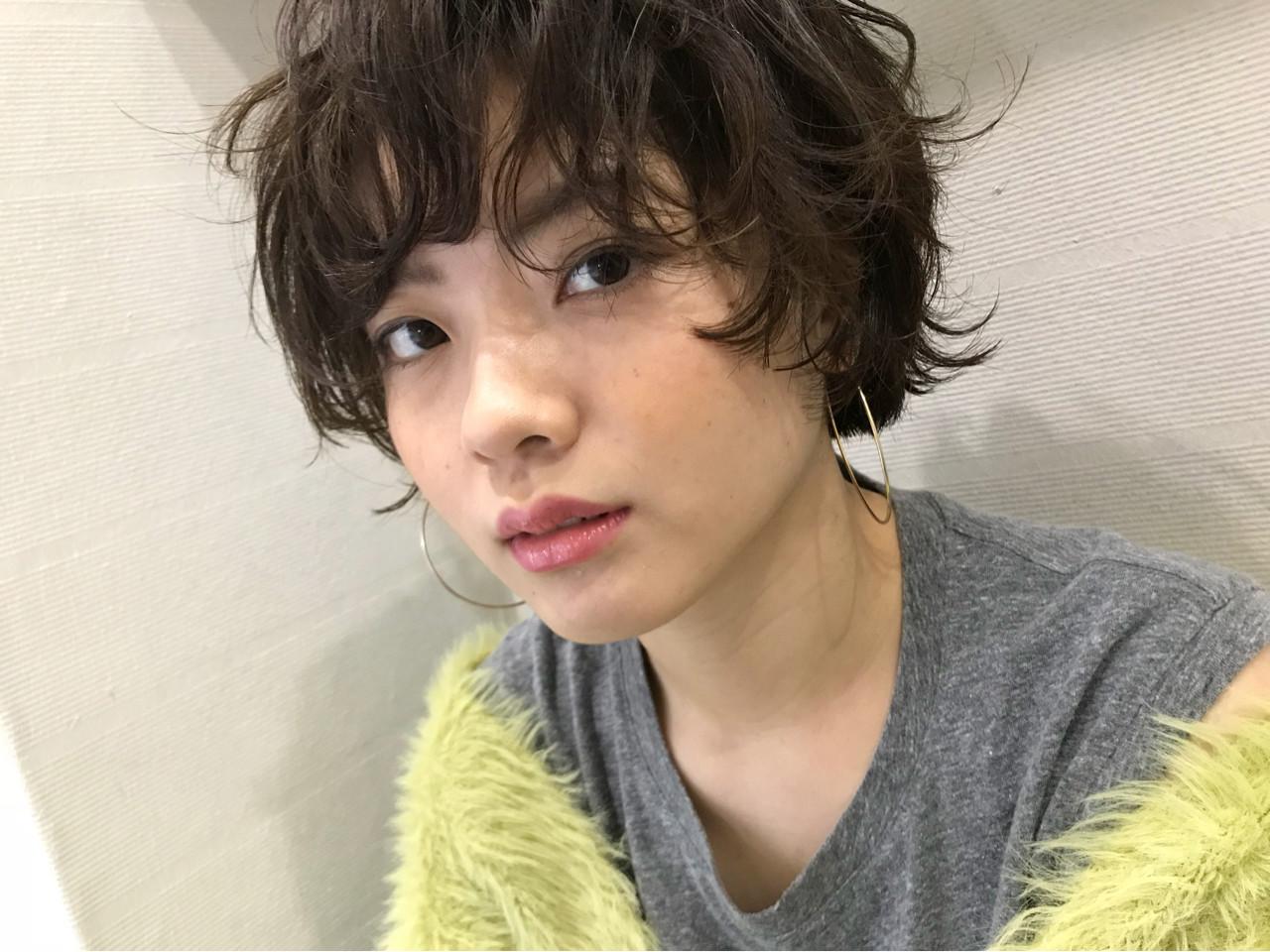 ふわクシュ質感♪ウェーブのマッシュショート natsuki | hair make design paf