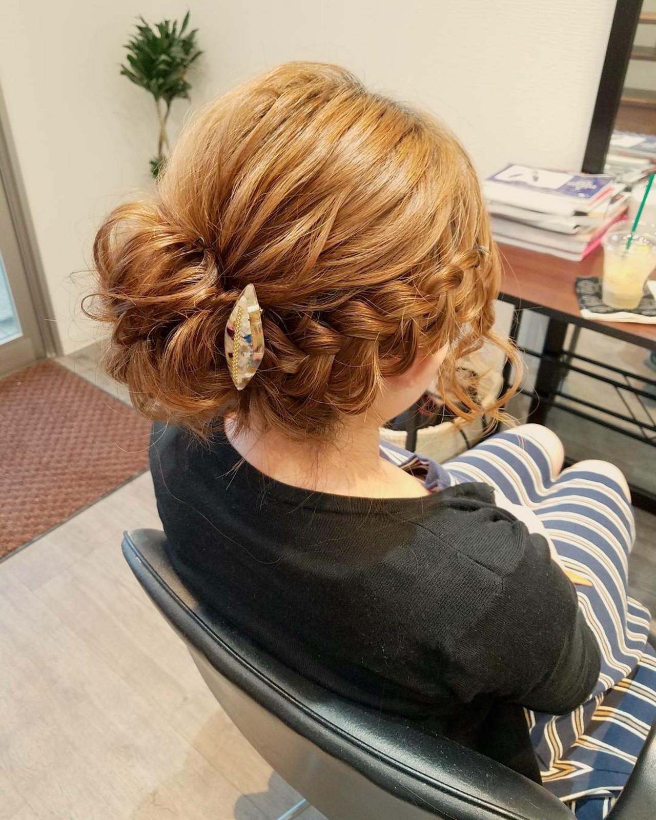 お団子にアクセントをつける編み込み mai | HAIR SALON STELLA