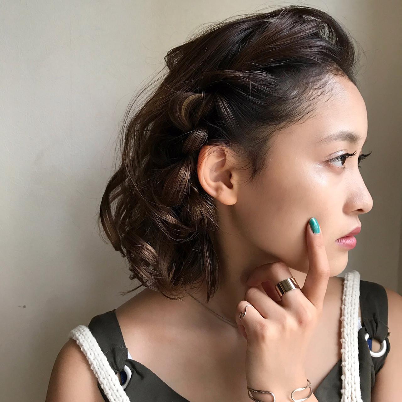 お出かけに最適☆30代女性の黒髪パーマボブアレンジ 吉田将大