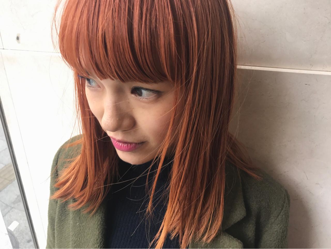 オレンジヘアカラー×ミディアムで大人っぽ♡ 野間祐樹