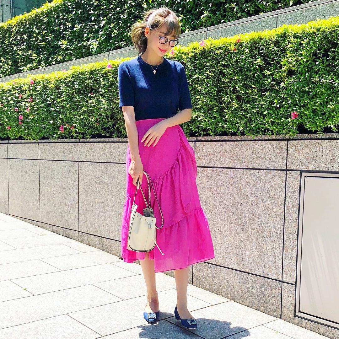 フェミニン♡切り替えデザインスカート 出典:ayumi_okabe