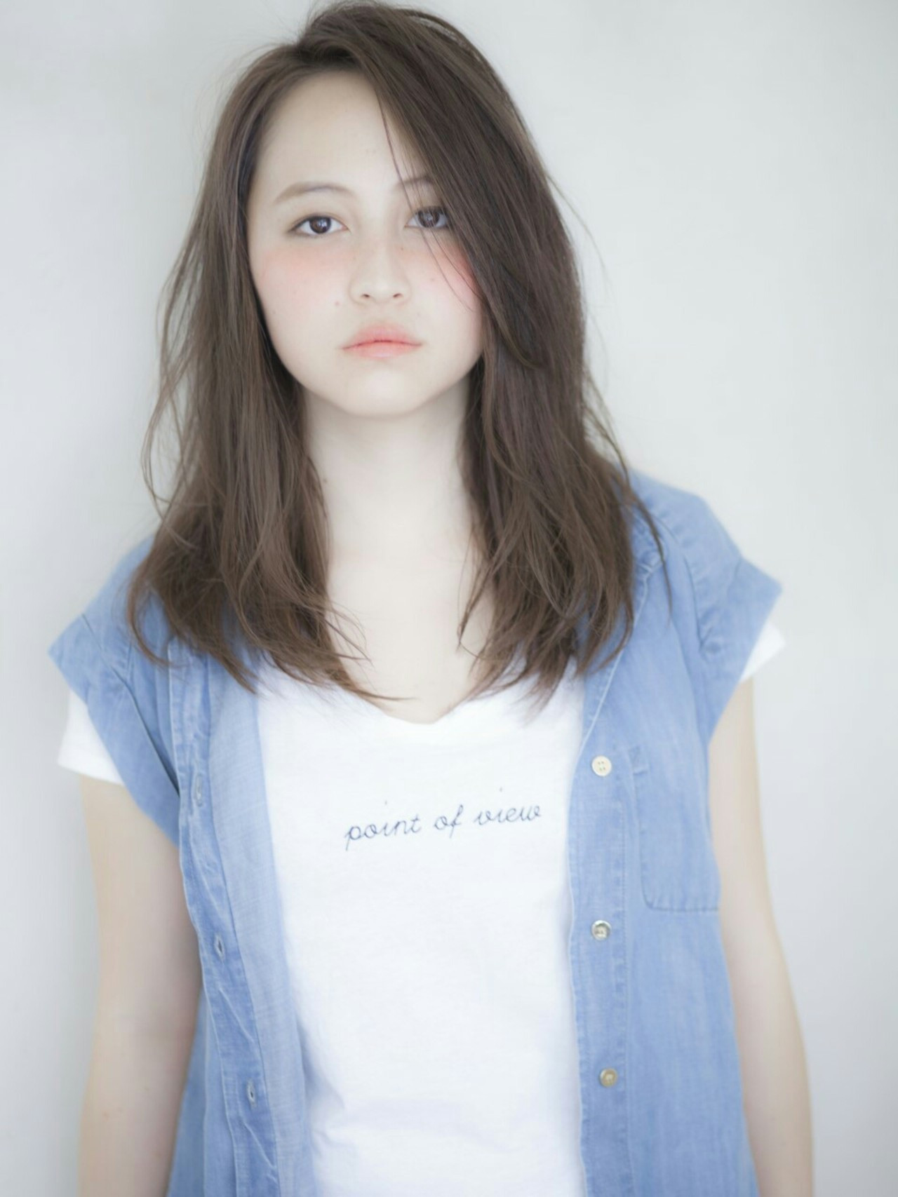 丸顔さんに似合う前髪なし黒髪セミロング! Yuya Yoshida