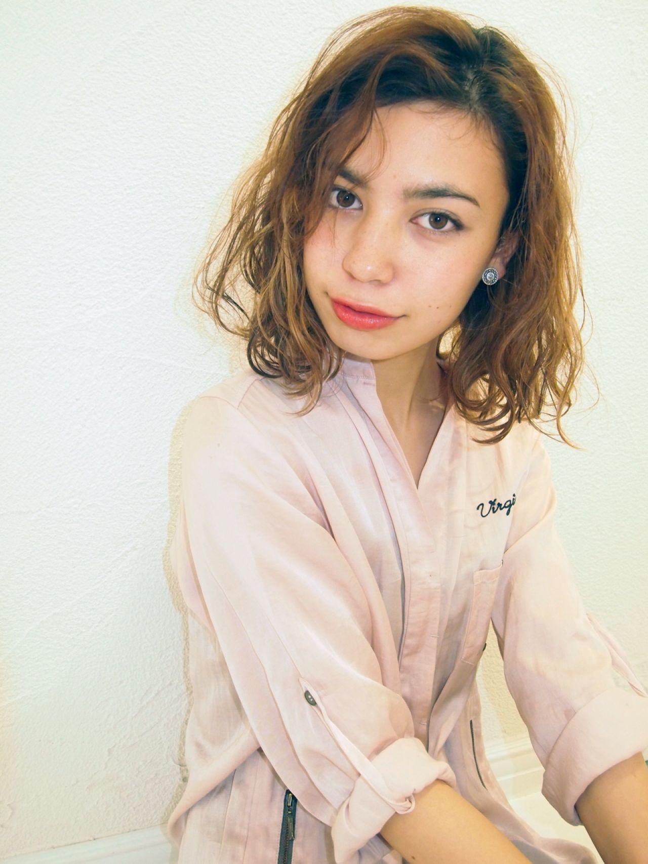 くせ毛が素敵♡愛されミディアムボブヘア♪ Rie Akita