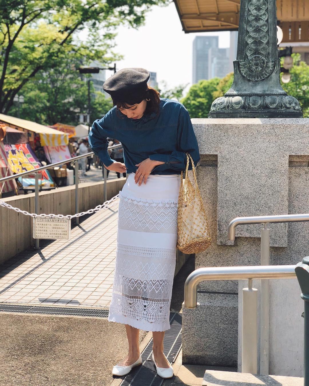 透け感がおしゃれなレーススカート 出典:muu0103