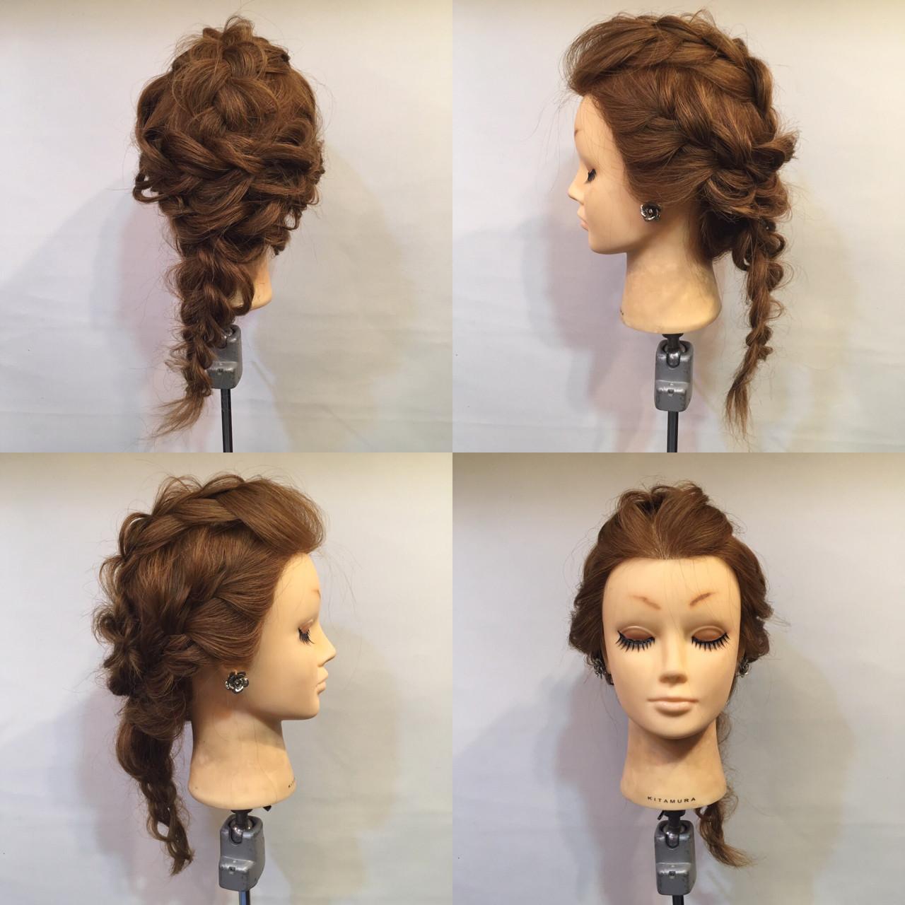 ヘアアレンジ 編み込み 裏編み込み セミロング ヘアスタイルや髪型の写真・画像