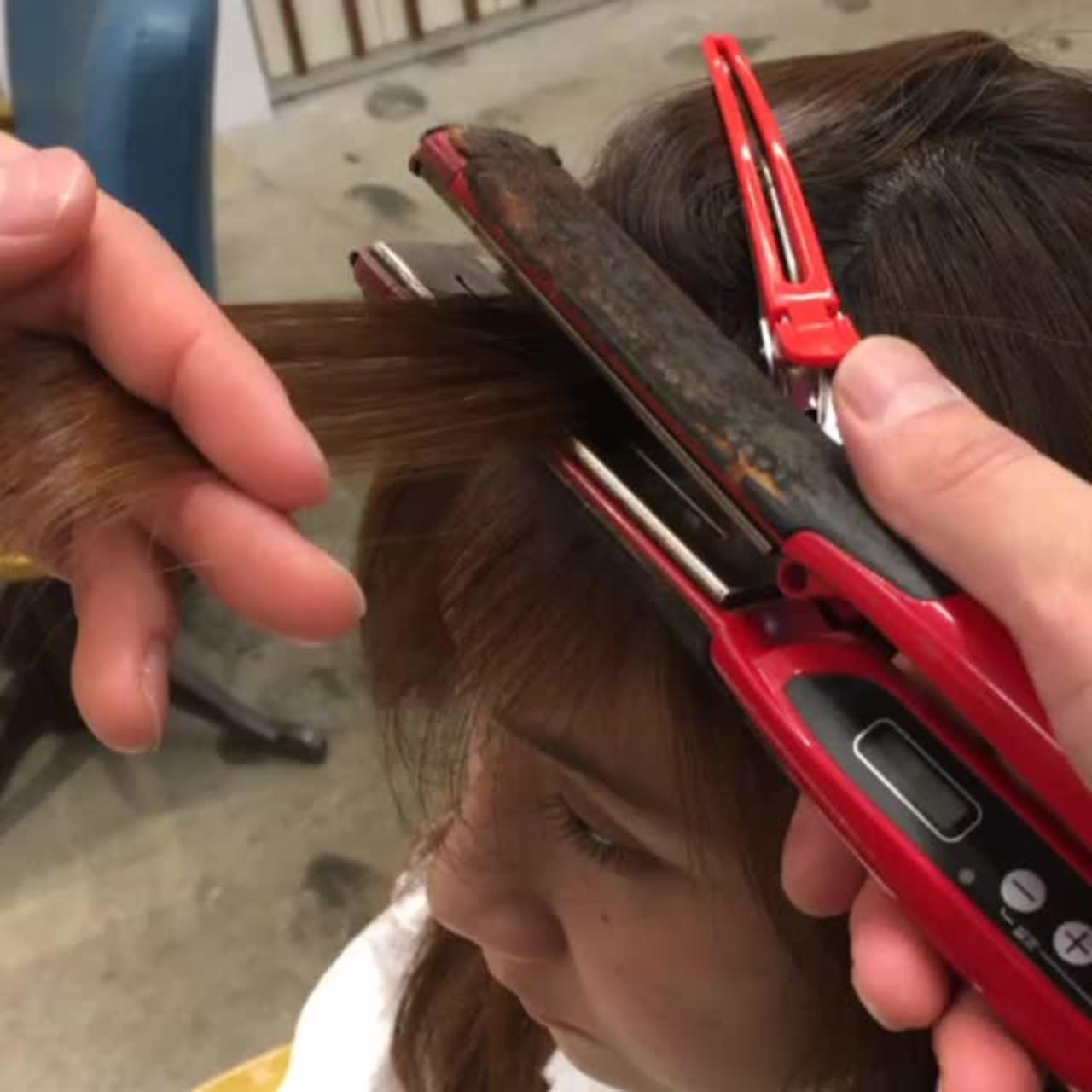 ミディアム ストレート パーマ ワンカール ヘアスタイルや髪型の写真・画像