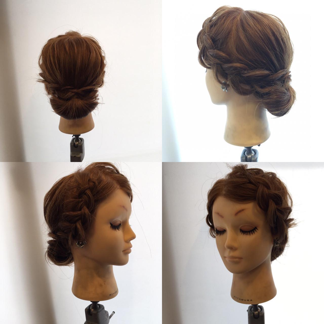 結婚式 シニヨン ヘアアレンジ 上品 ヘアスタイルや髪型の写真・画像