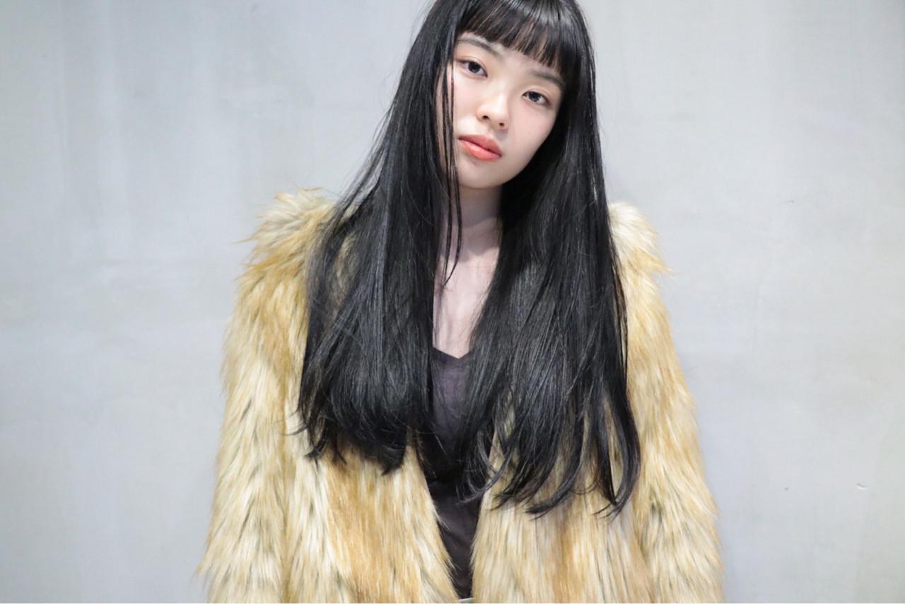 黒髪 モード ロング ヘアスタイルや髪型の写真・画像