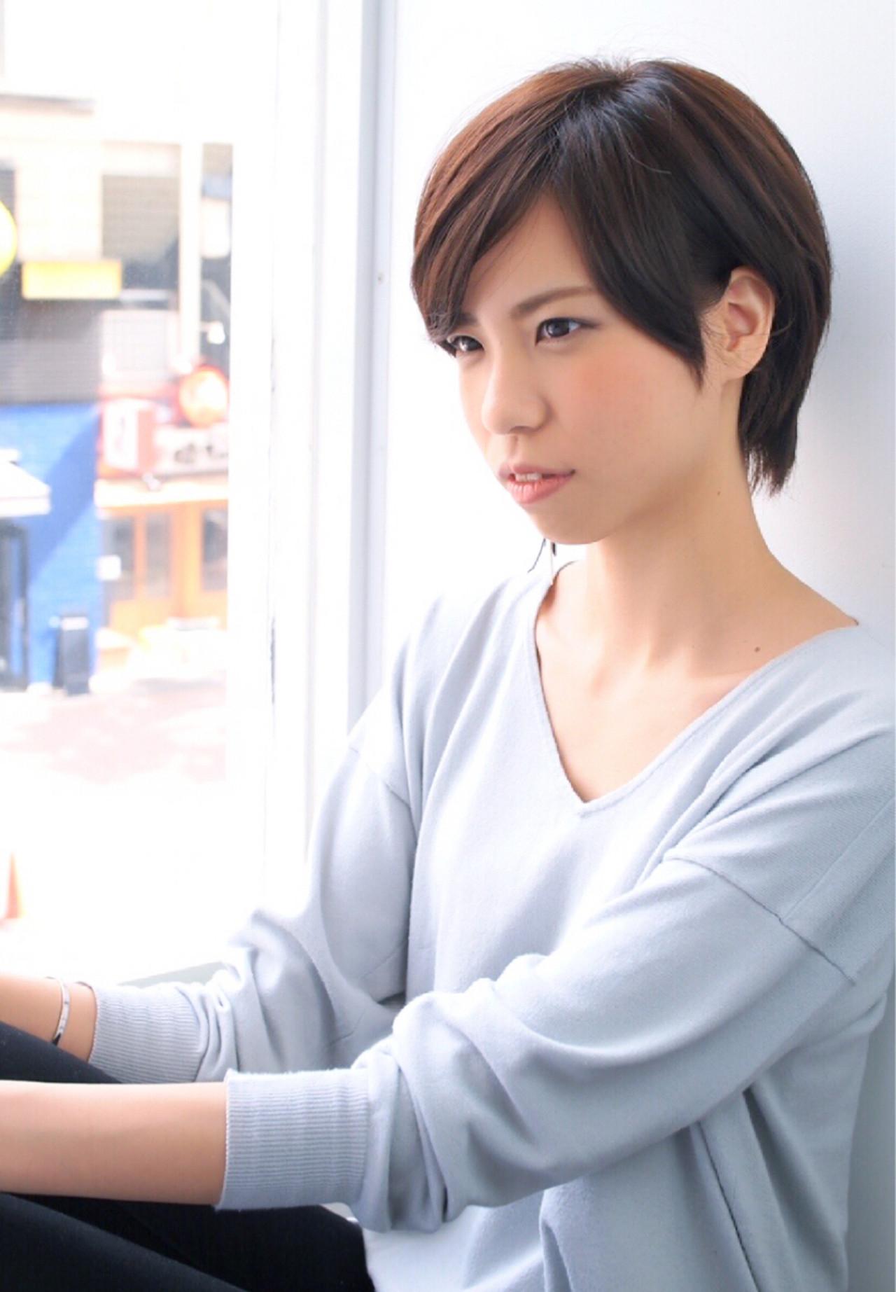 爽やか 小顔 コンサバ マニッシュ ヘアスタイルや髪型の写真・画像