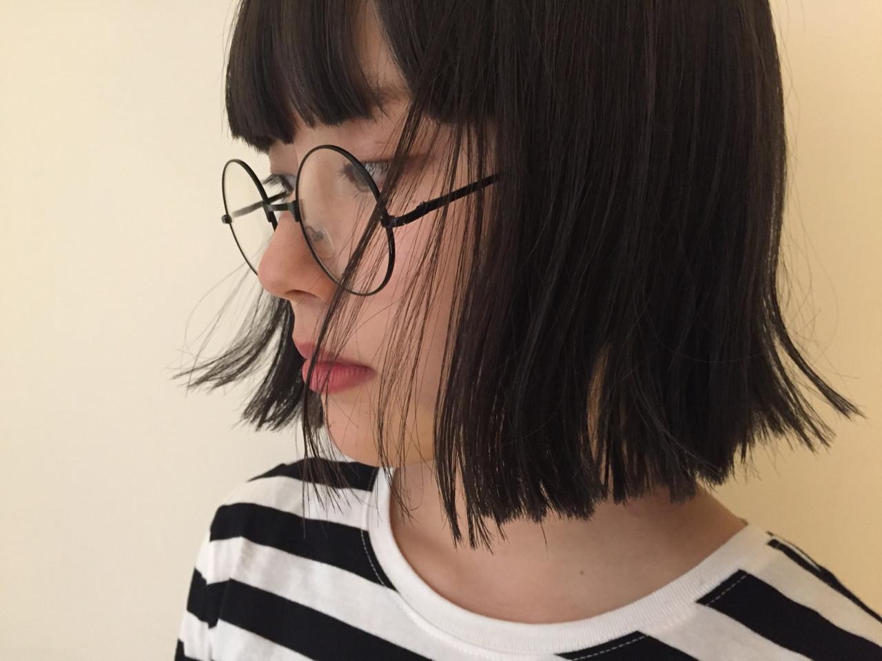 モード ブラントカット 抜け感 ボブ ヘアスタイルや髪型の写真・画像