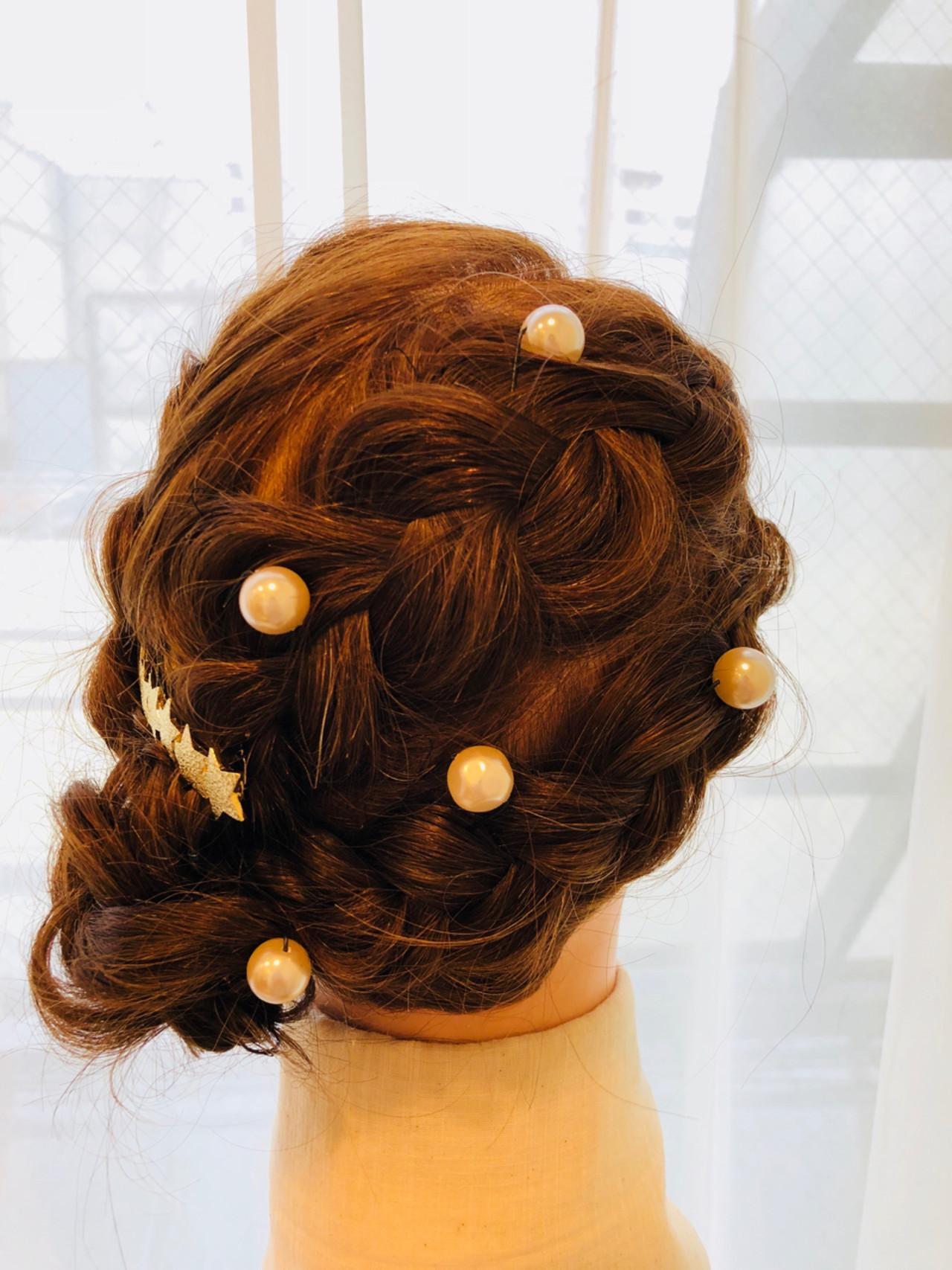 ナチュラル 編み込み ヘアアレンジ ロング ヘアスタイルや髪型の写真・画像