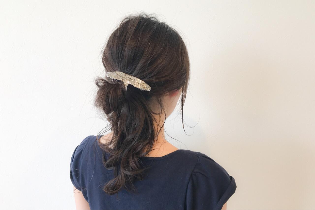 ポニーテール リラックス 上品 エレガント ヘアスタイルや髪型の写真・画像
