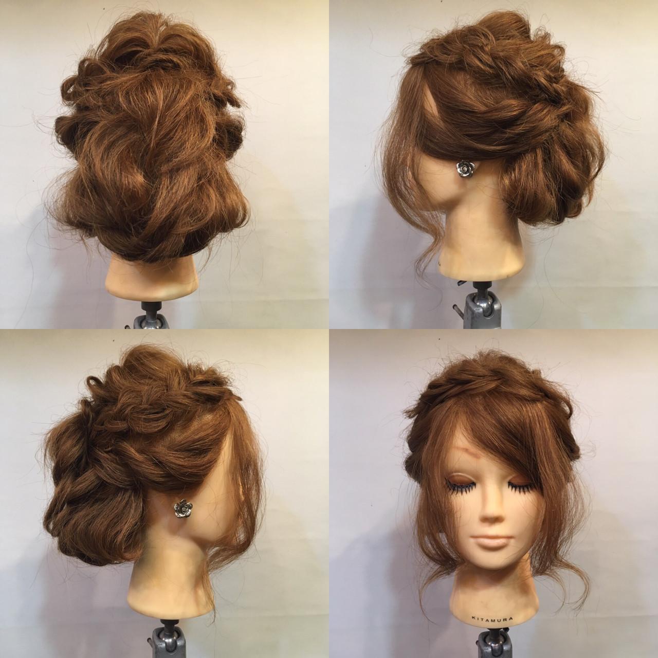 結婚式 フェミニン くるりんぱ セミロング ヘアスタイルや髪型の写真・画像