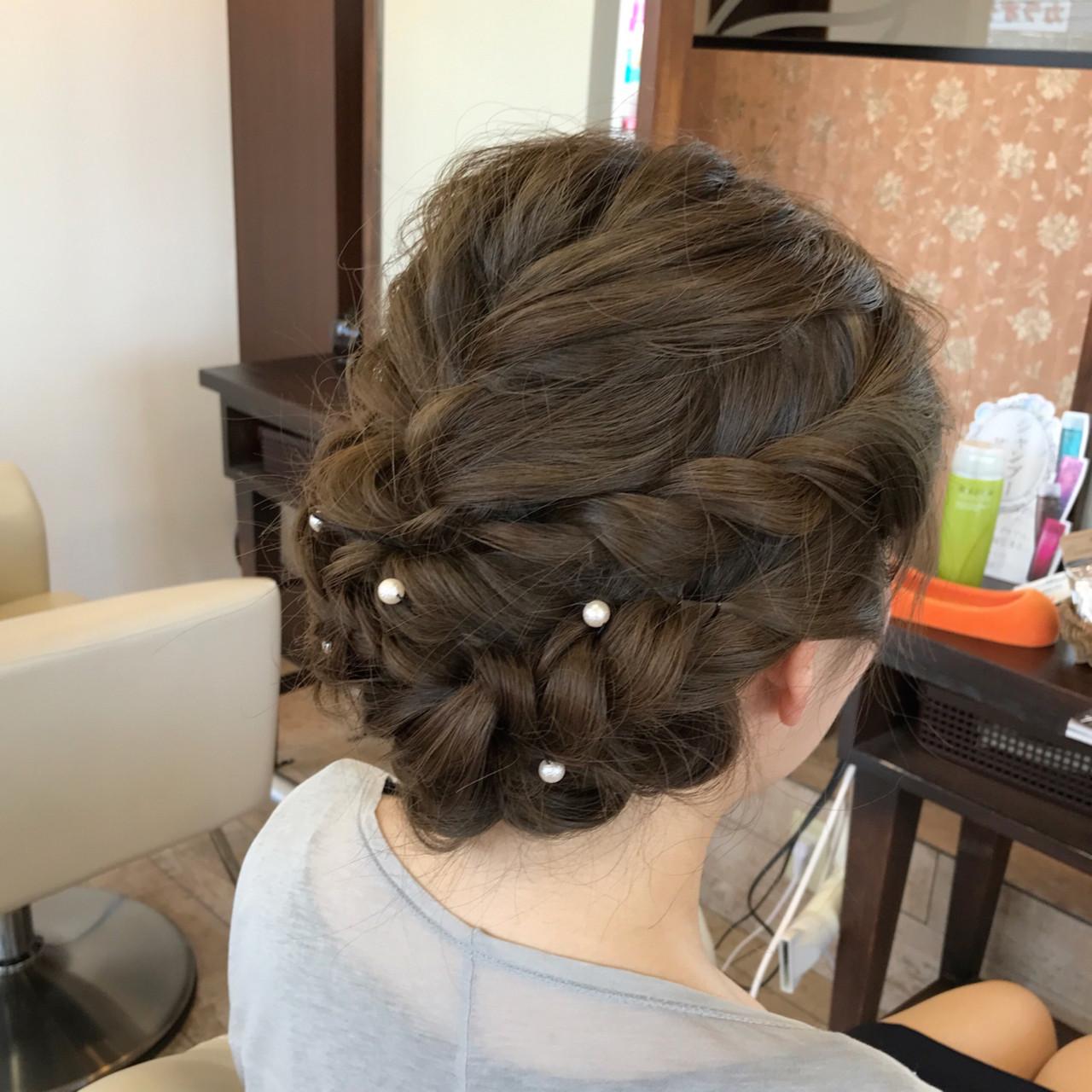 編み込み ガーリー パーティ 波ウェーブ ヘアスタイルや髪型の写真・画像