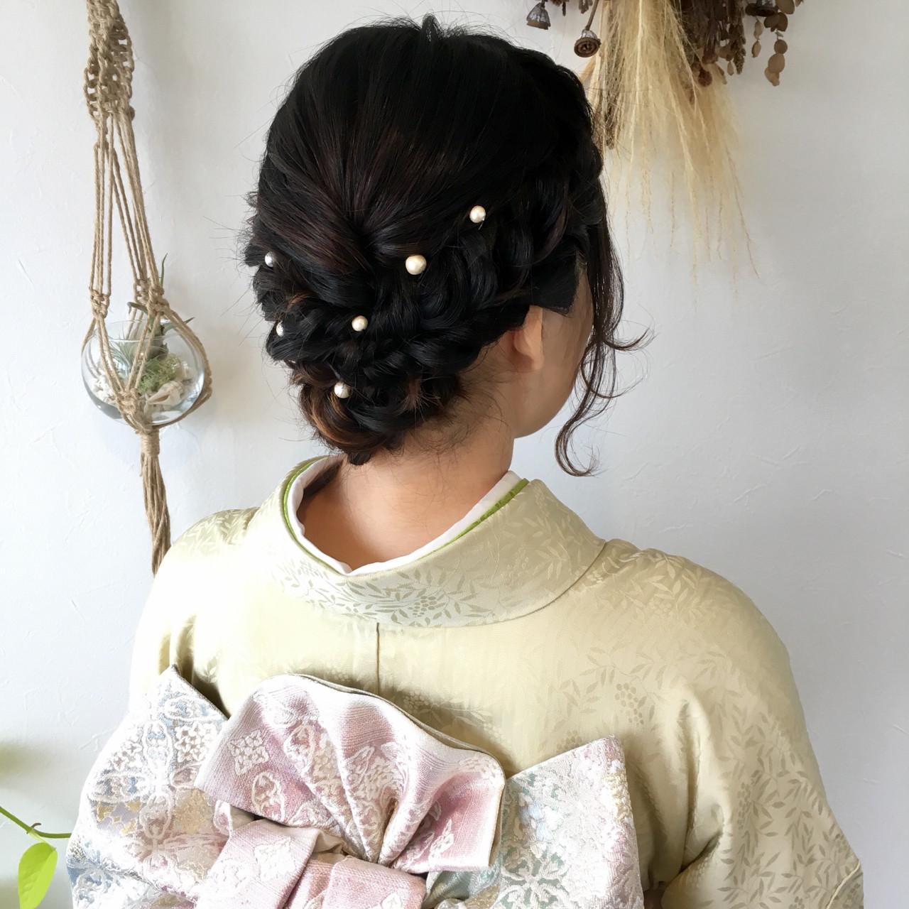 ミディアム 着物 結婚式 ナチュラル ヘアスタイルや髪型の写真・画像