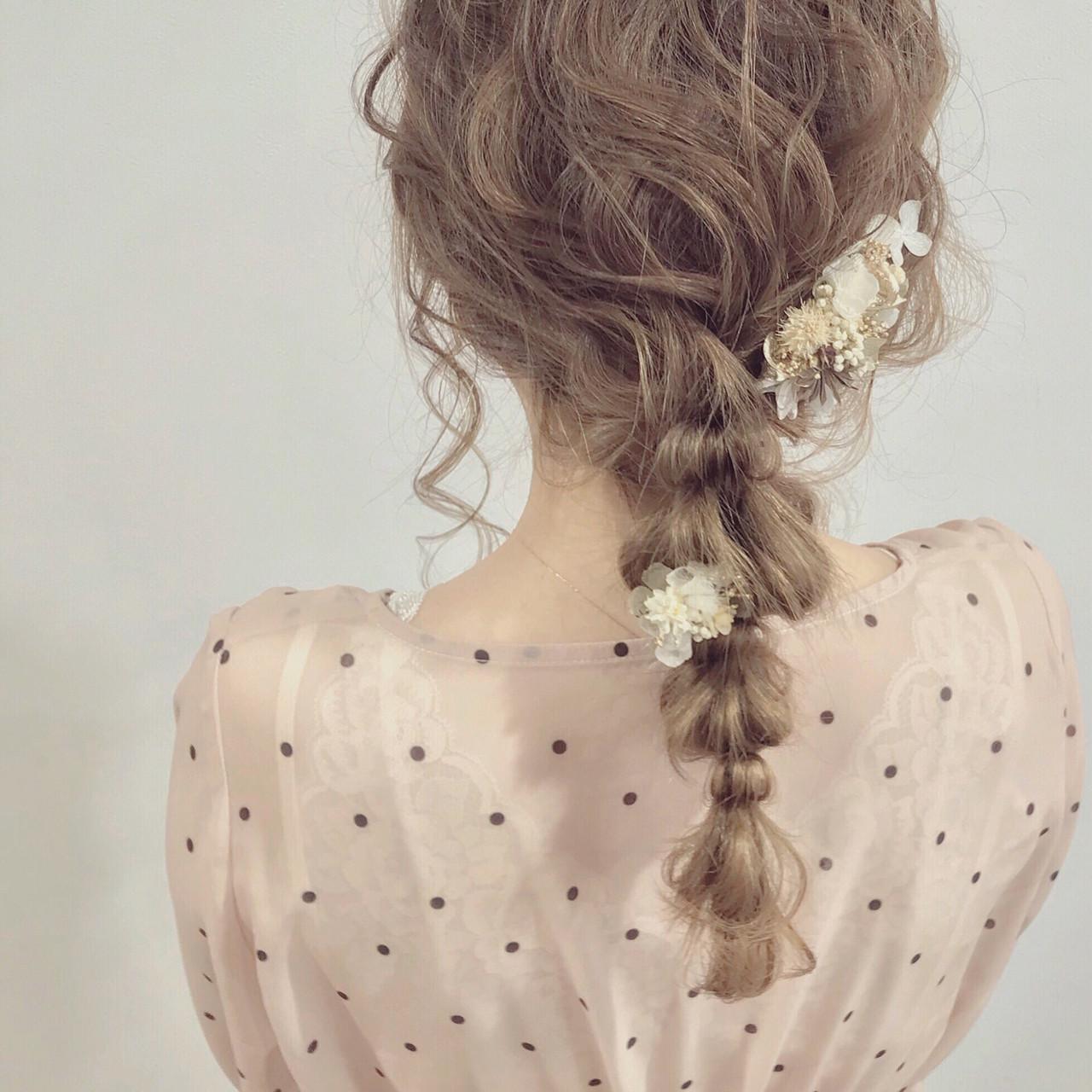 ゆるふわ 結婚式 セミロング 大人かわいい ヘアスタイルや髪型の写真・画像