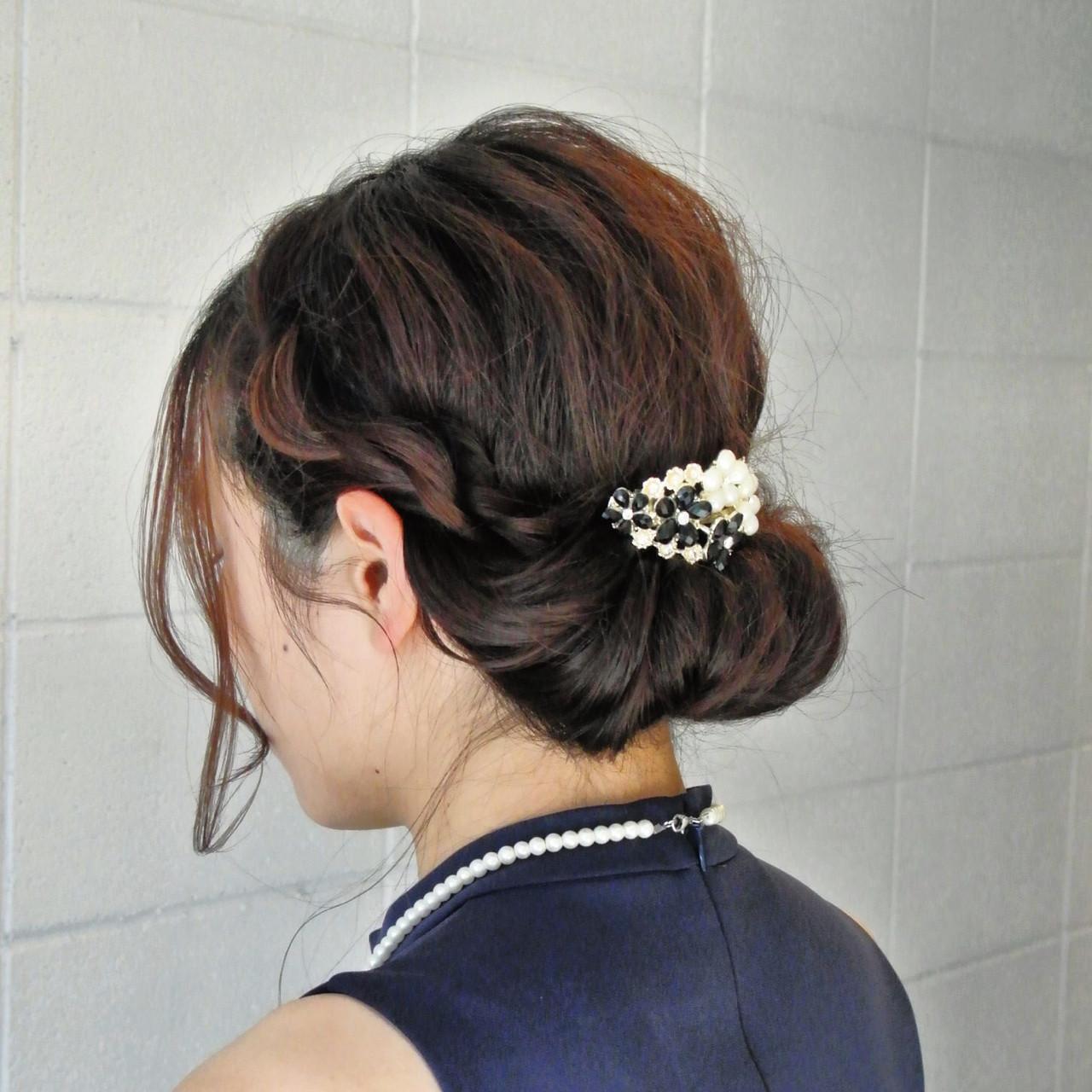 結婚式 上品 ギブソンタック ヘアアレンジ ヘアスタイルや髪型の写真・画像