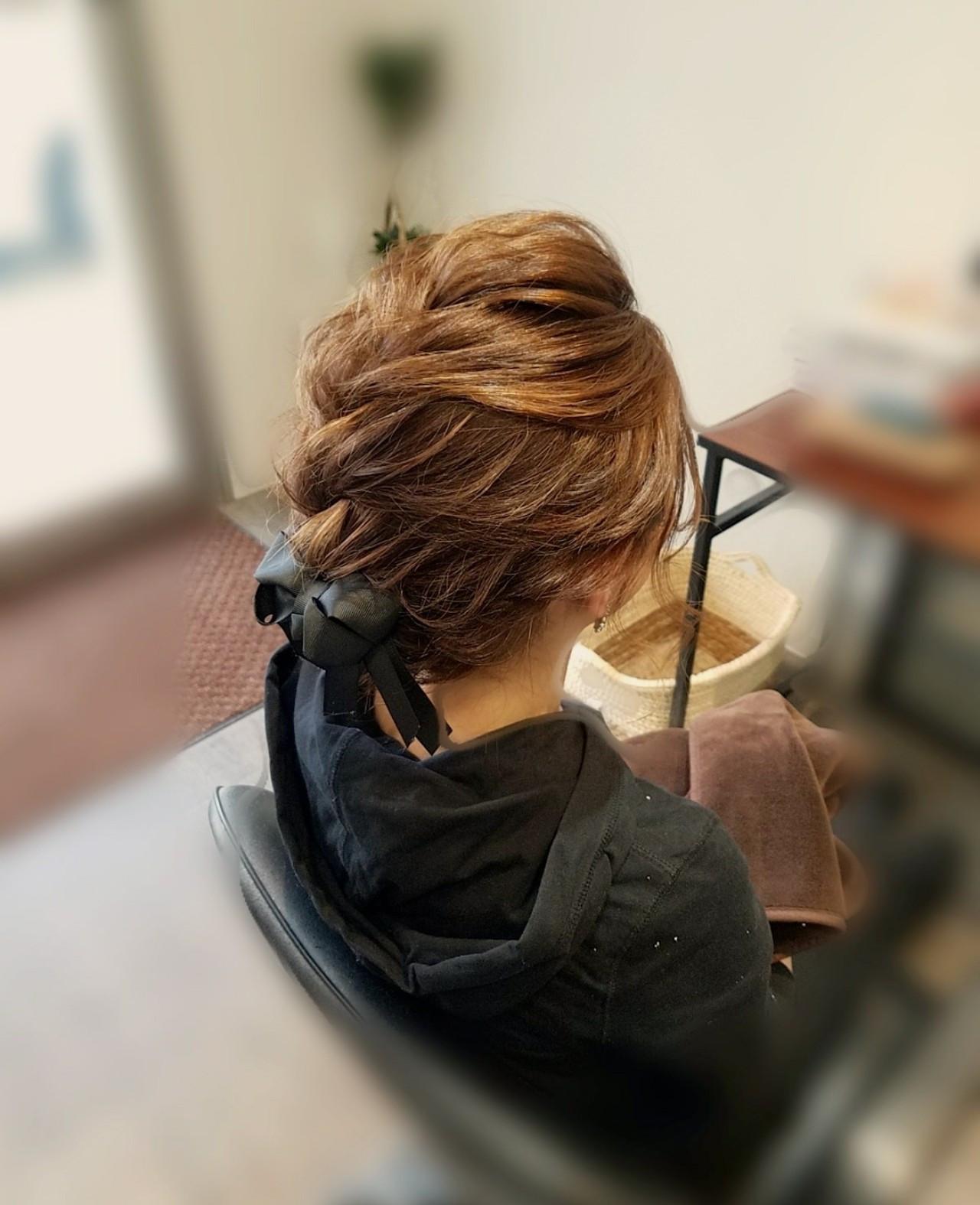 ヘアアレンジ フェミニン 編み込み アップスタイル ヘアスタイルや髪型の写真・画像