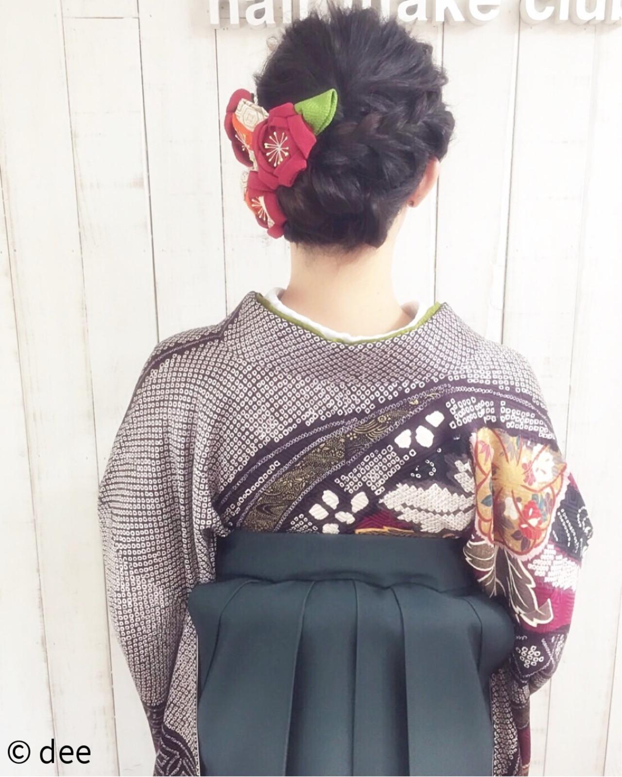 着物 謝恩会 ヘアアレンジ 袴 ヘアスタイルや髪型の写真・画像