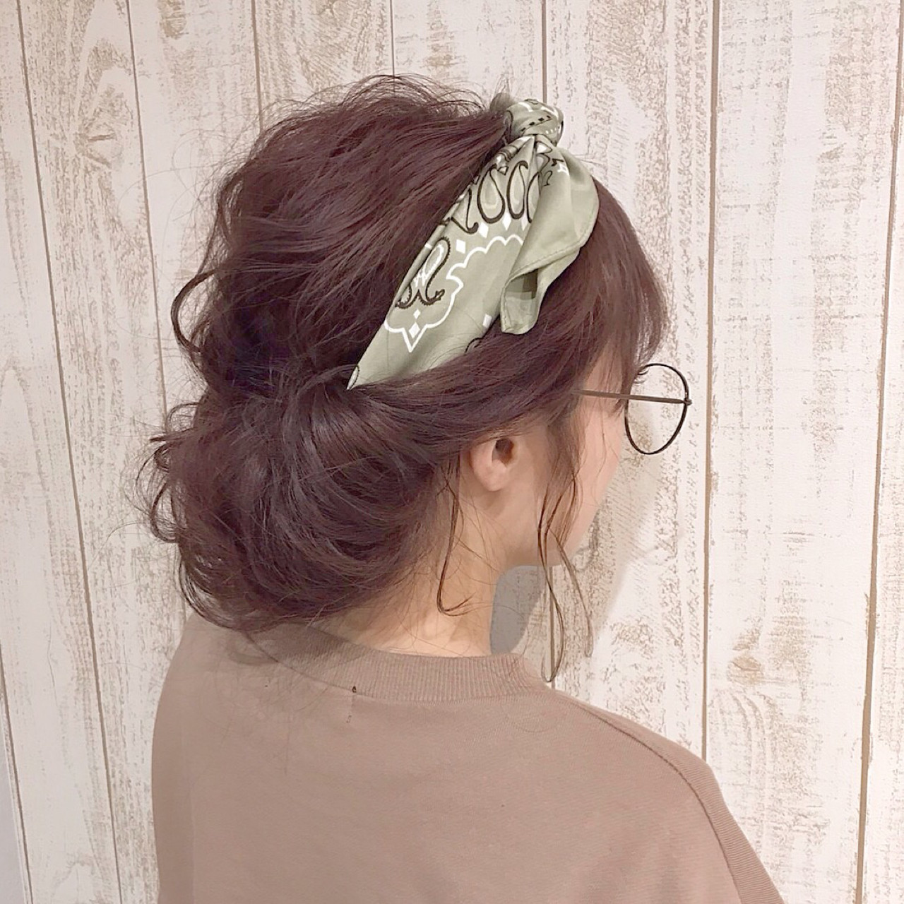 ニュアンス ヘアアレンジ セミロング ミルクティー ヘアスタイルや髪型の写真・画像