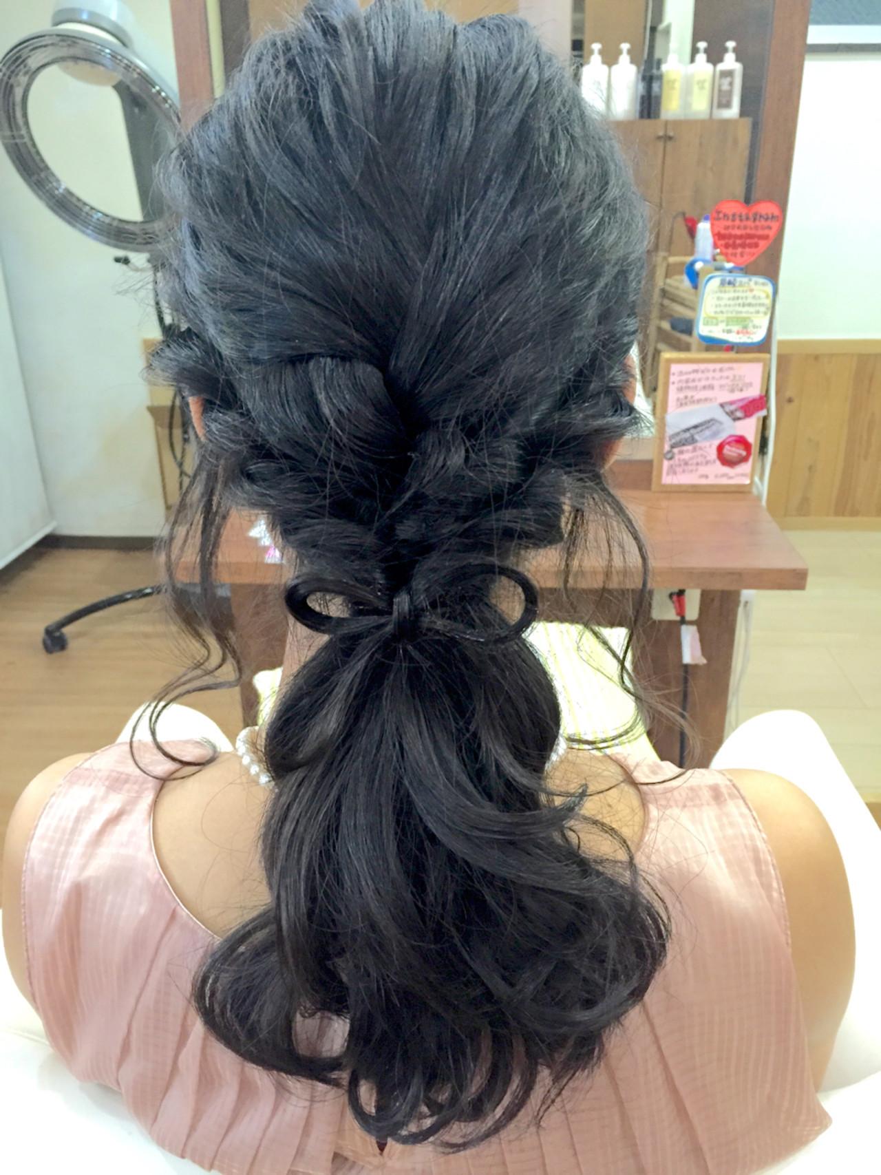 ゆるふわ ヘアアレンジ ロング 暗髪 ヘアスタイルや髪型の写真・画像