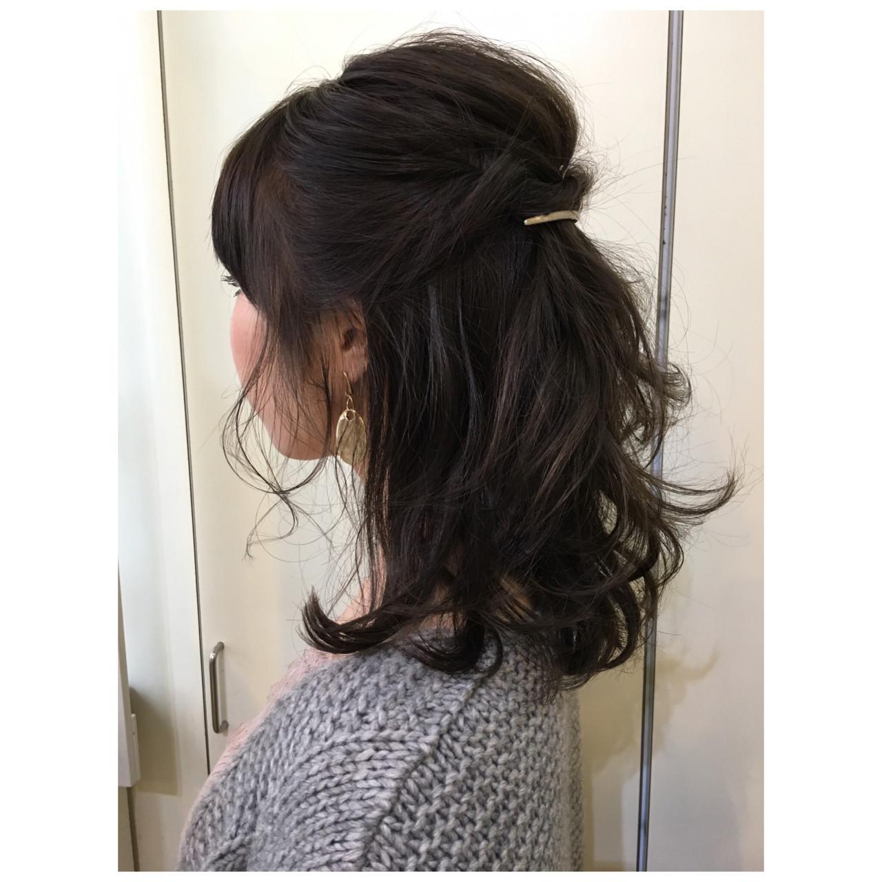大人かわいい 簡単ヘアアレンジ ミディアム ナチュラル ヘアスタイルや髪型の写真・画像