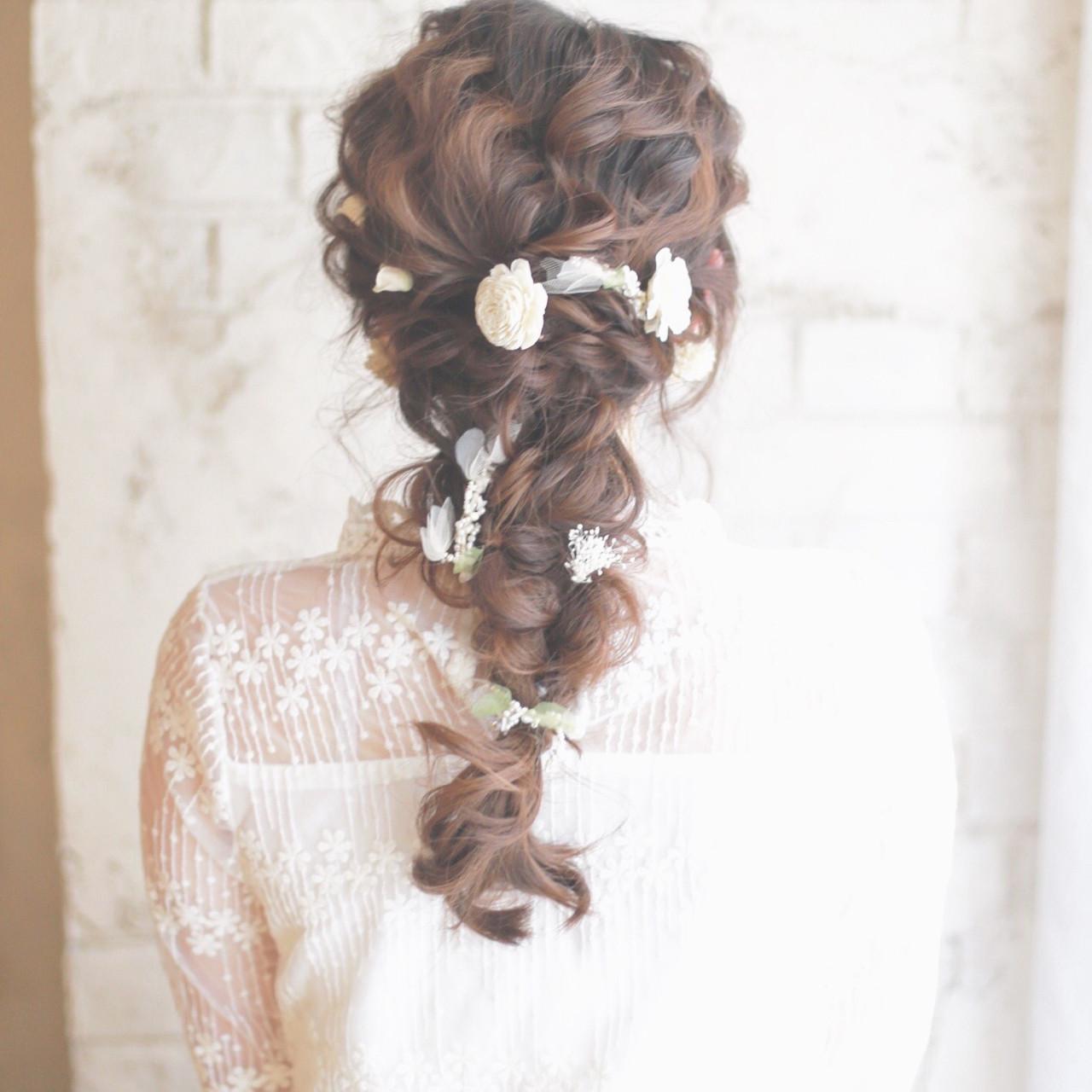 簡単ヘアアレンジ ショート 結婚式 花 ヘアスタイルや髪型の写真・画像