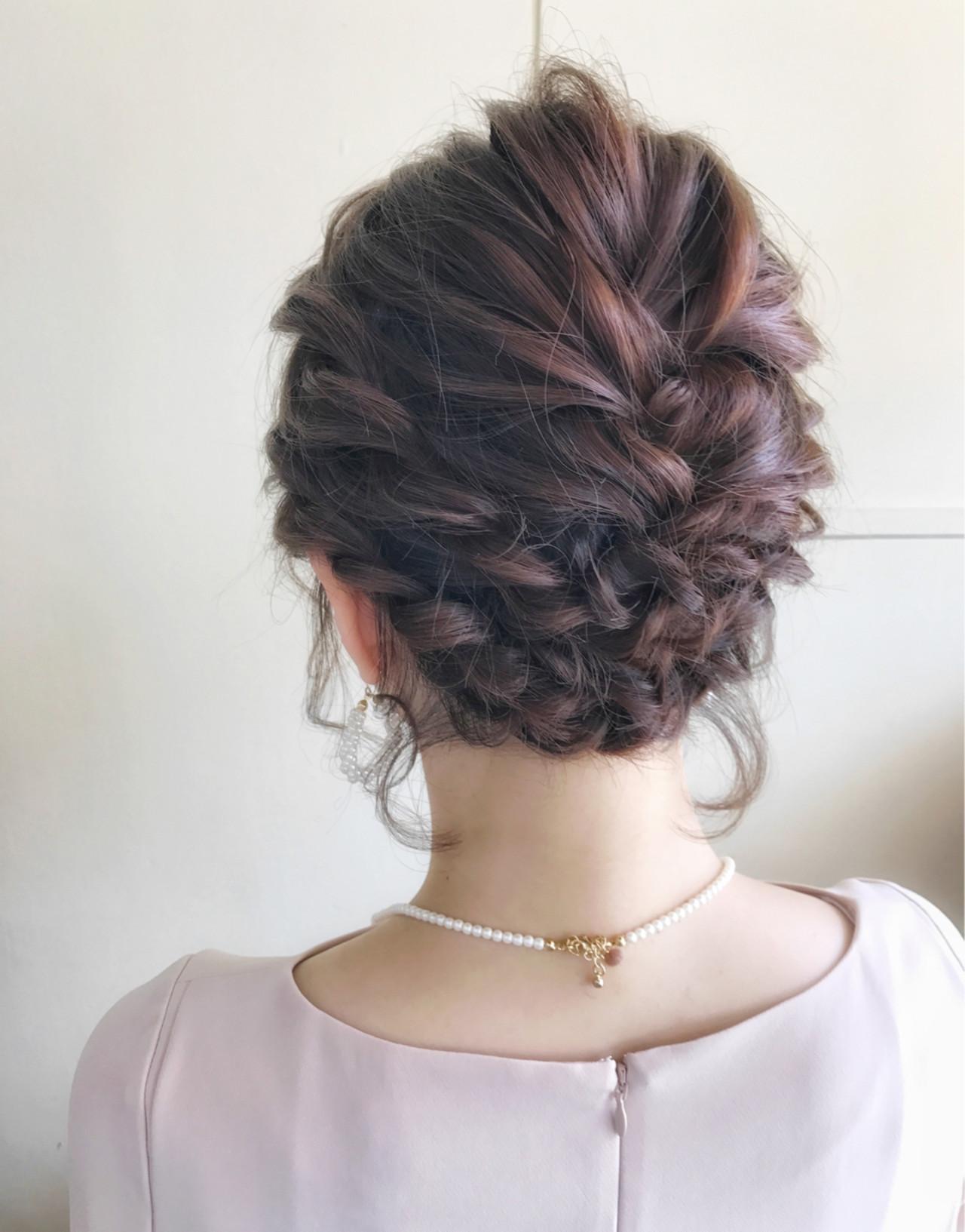 結婚式 ショート ヘアアレンジ フェミニン ヘアスタイルや髪型の写真・画像