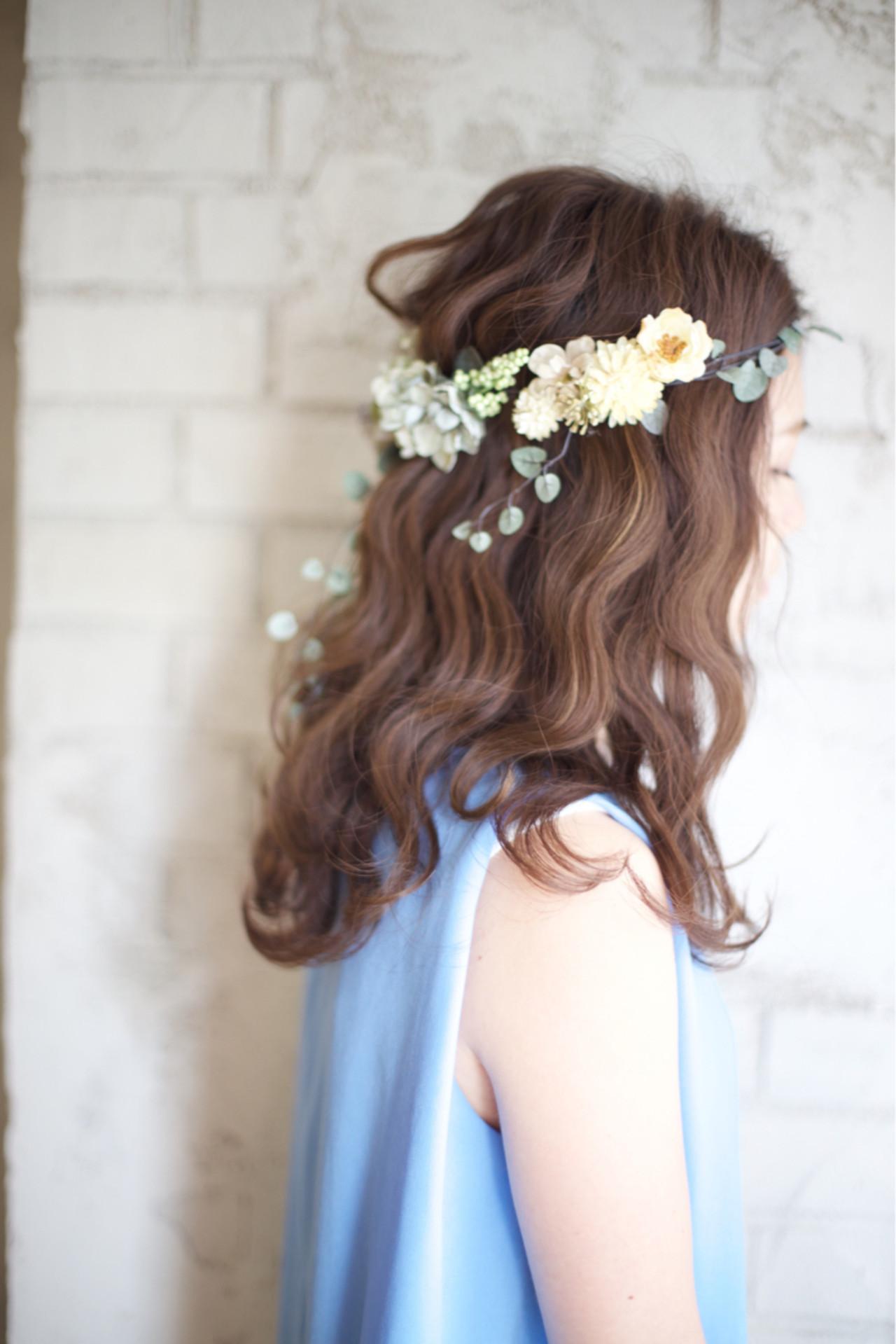 ヘアアレンジ 結婚式 花嫁 花 ヘアスタイルや髪型の写真・画像