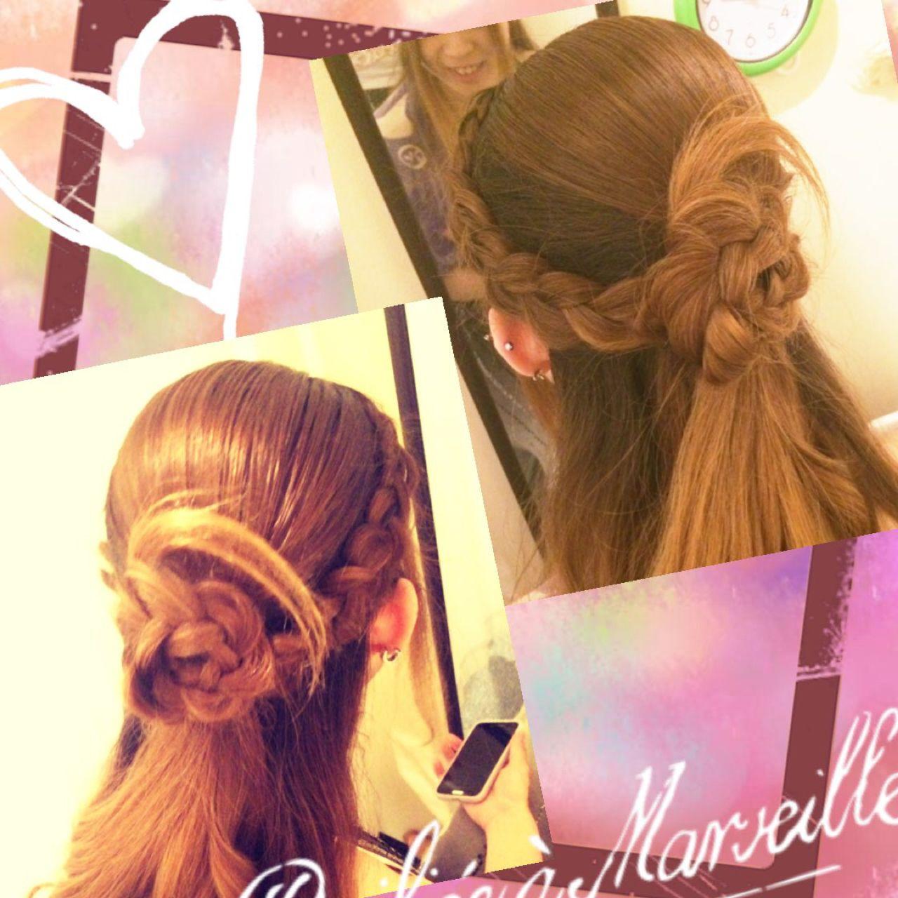 ストリート ヘアアレンジ ハーフアップ 三つ編み ヘアスタイルや髪型の写真・画像