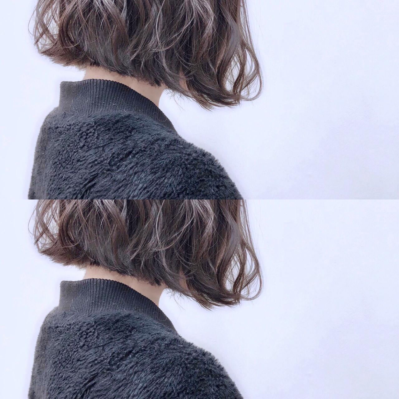 外ハネ 前下がり 切りっぱなし ボブ ヘアスタイルや髪型の写真・画像