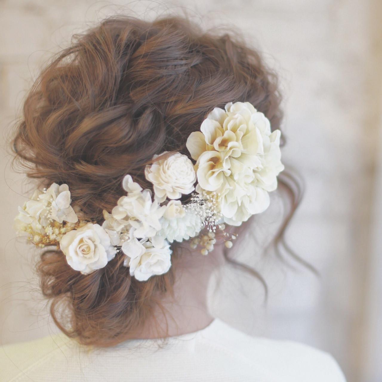 ロング 花 ヘアアレンジ 結婚式 ヘアスタイルや髪型の写真・画像
