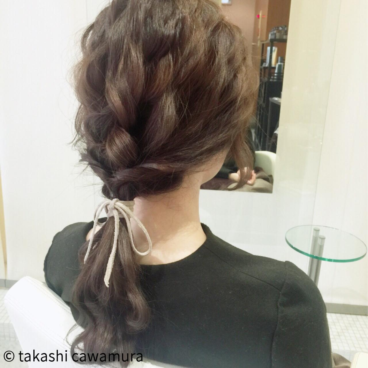ロング 編み込み 時短 ポニーテール ヘアスタイルや髪型の写真・画像