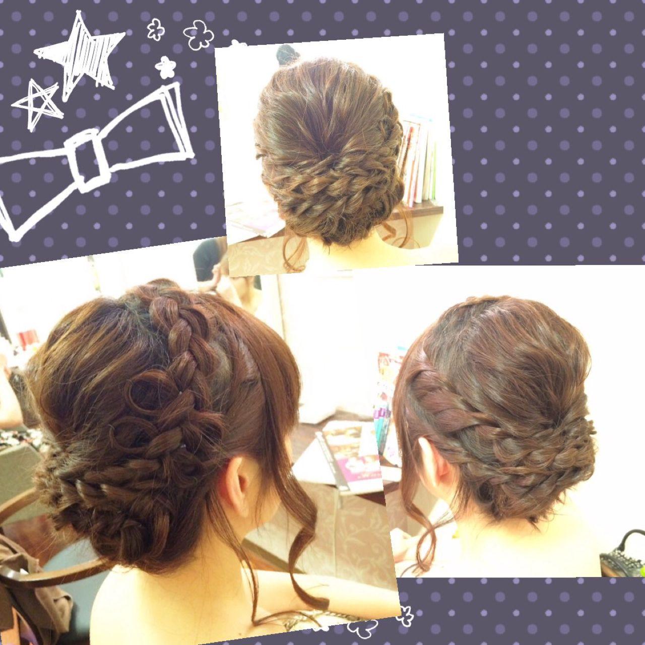 三つ編み アップスタイル 編み込み ストリート ヘアスタイルや髪型の写真・画像