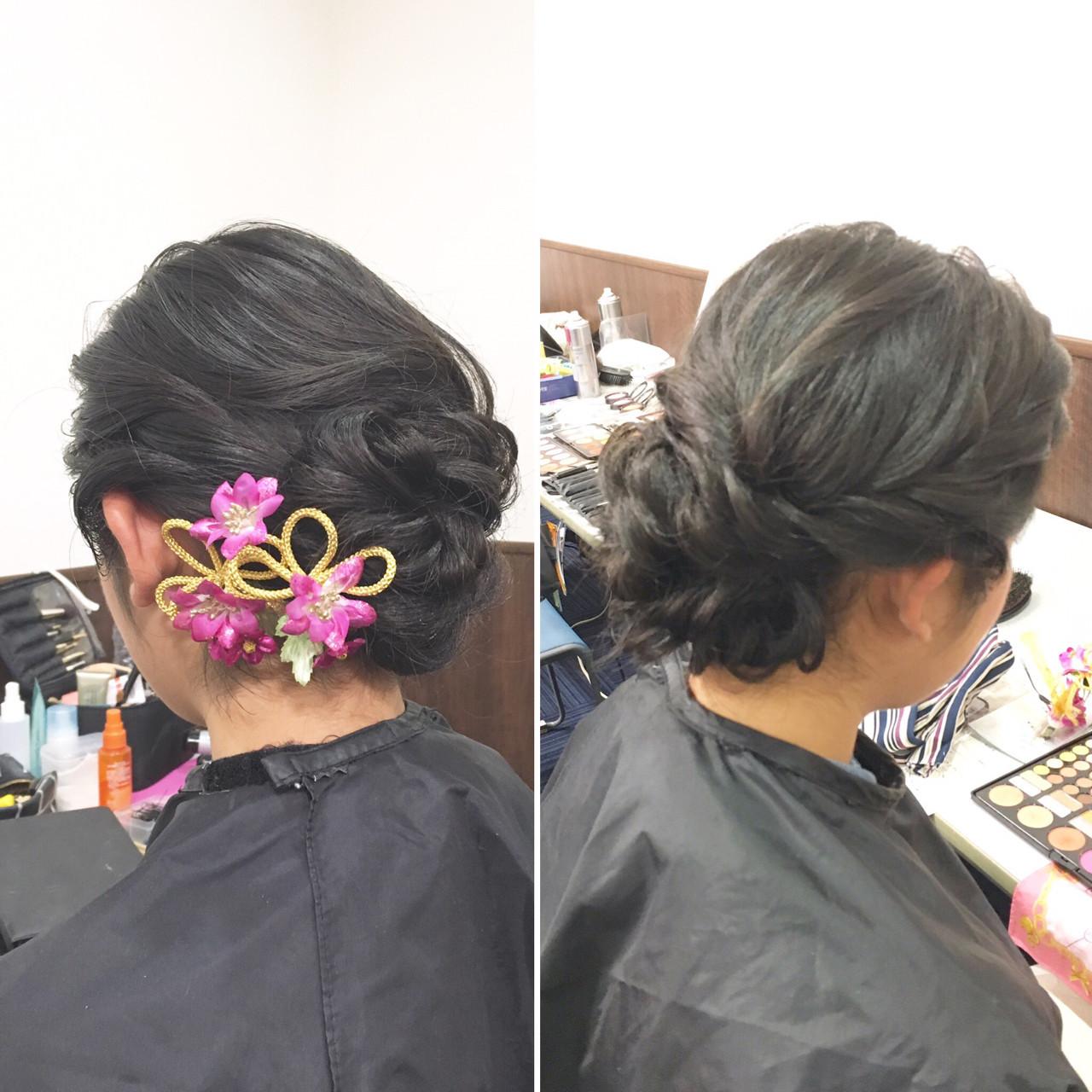 上品 エレガント セミロング 編み込み ヘアスタイルや髪型の写真・画像