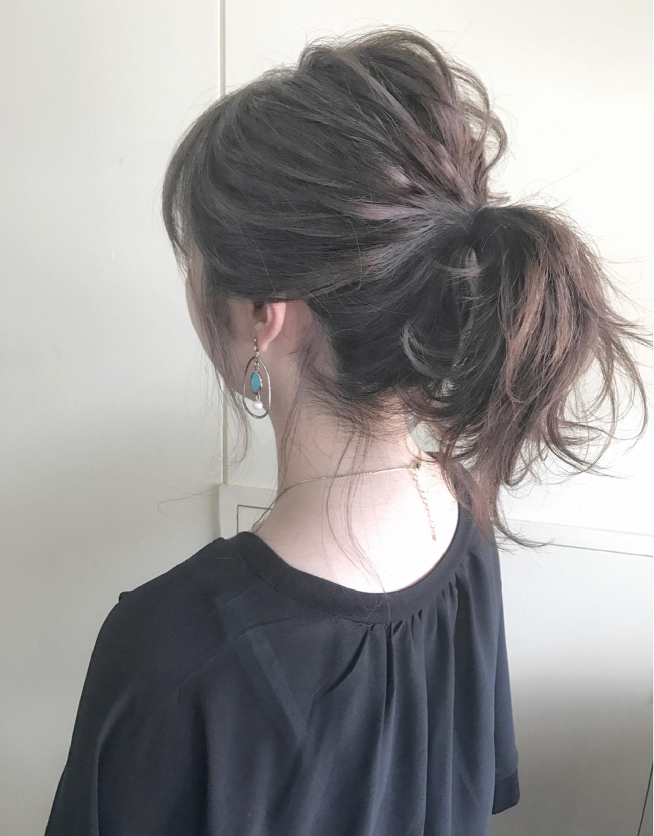 ポニーテール 簡単ヘアアレンジ ヘアアレンジ ナチュラル ヘアスタイルや髪型の写真・画像