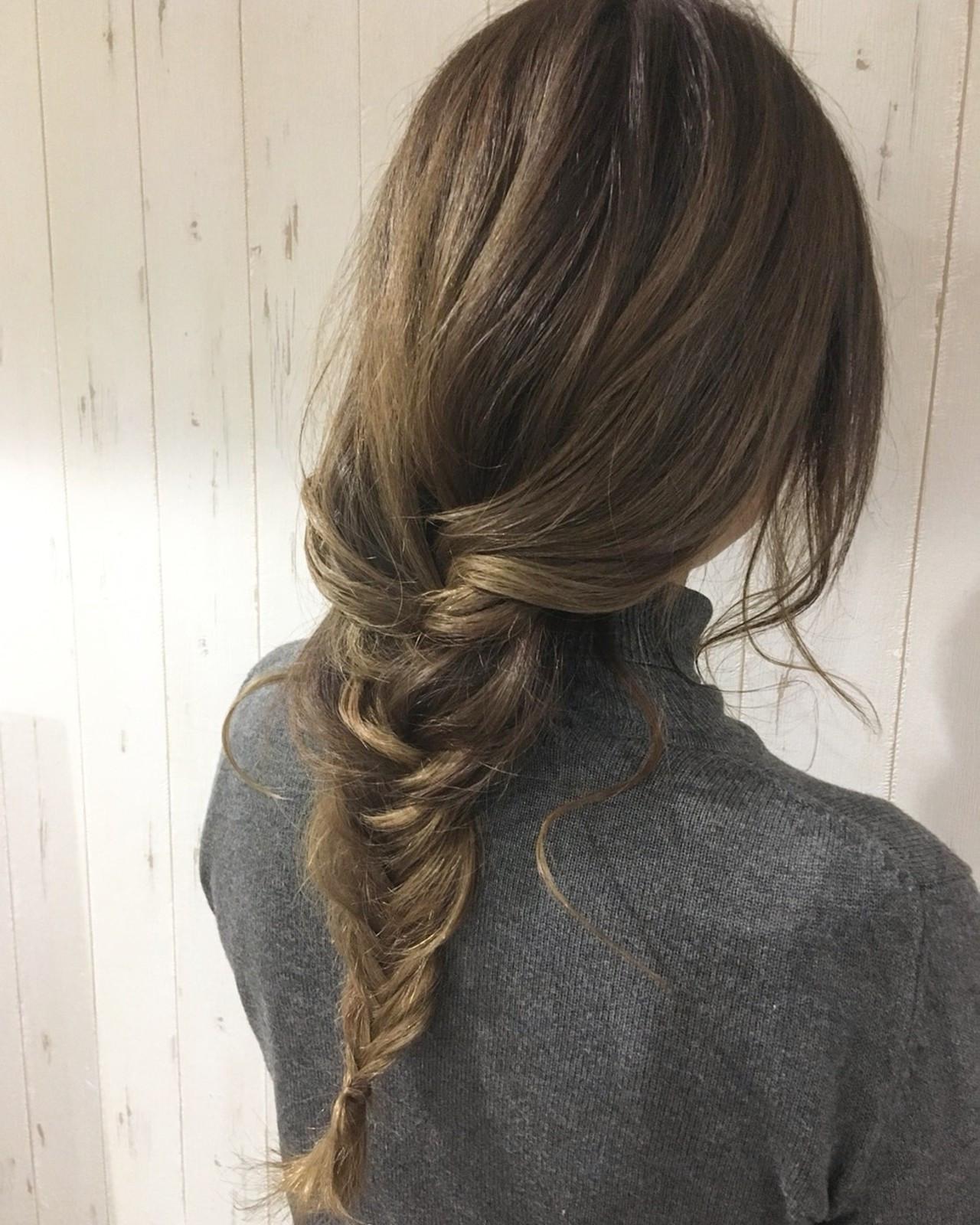 フィッシュボーン ナチュラル ロング ショート ヘアスタイルや髪型の写真・画像