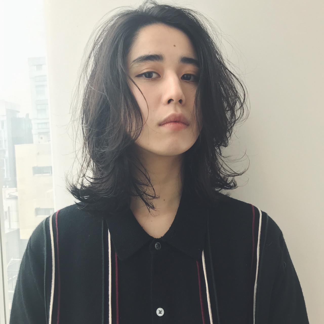 モード ミディアム ウルフカット ロブ ヘアスタイルや髪型の写真・画像