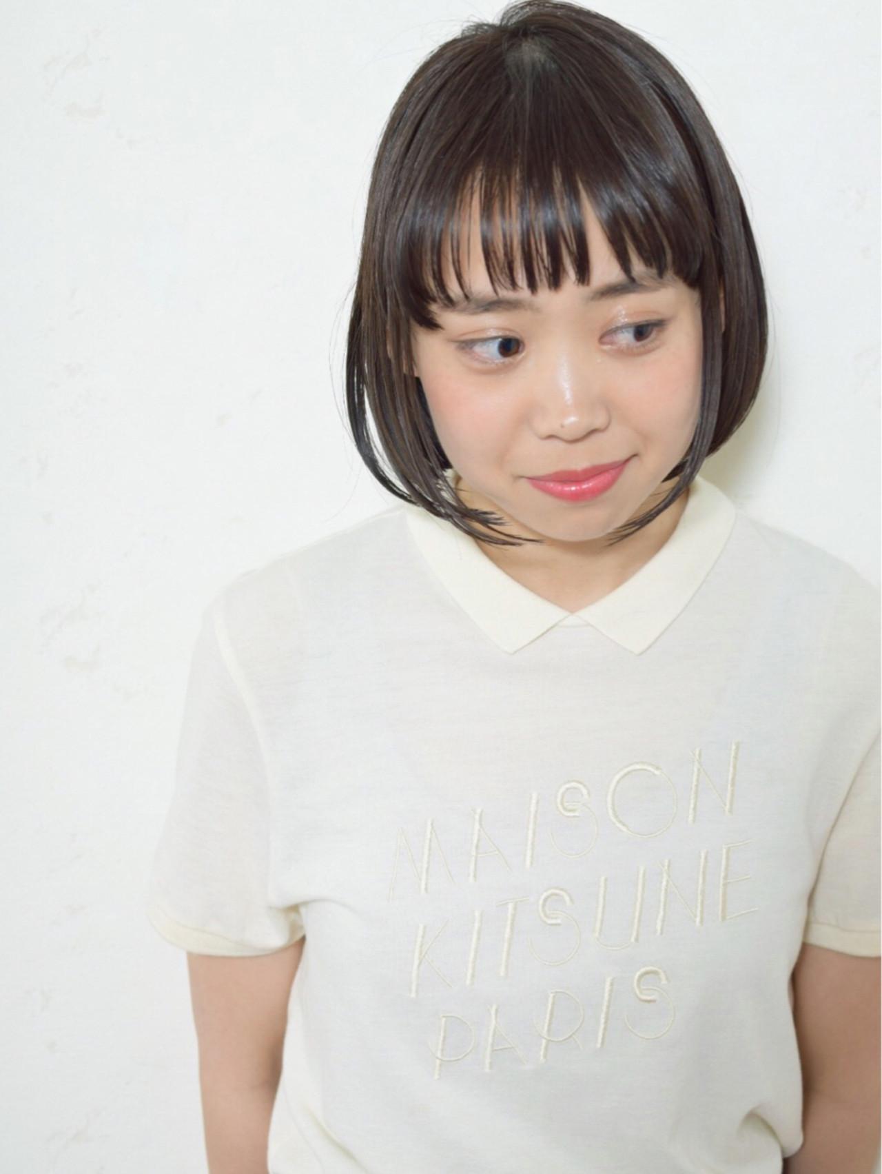 黒髪ぱっつんショートで縦ラインを強調♪ 星野 将太/柏/ボブ | R-EVOLUT hair