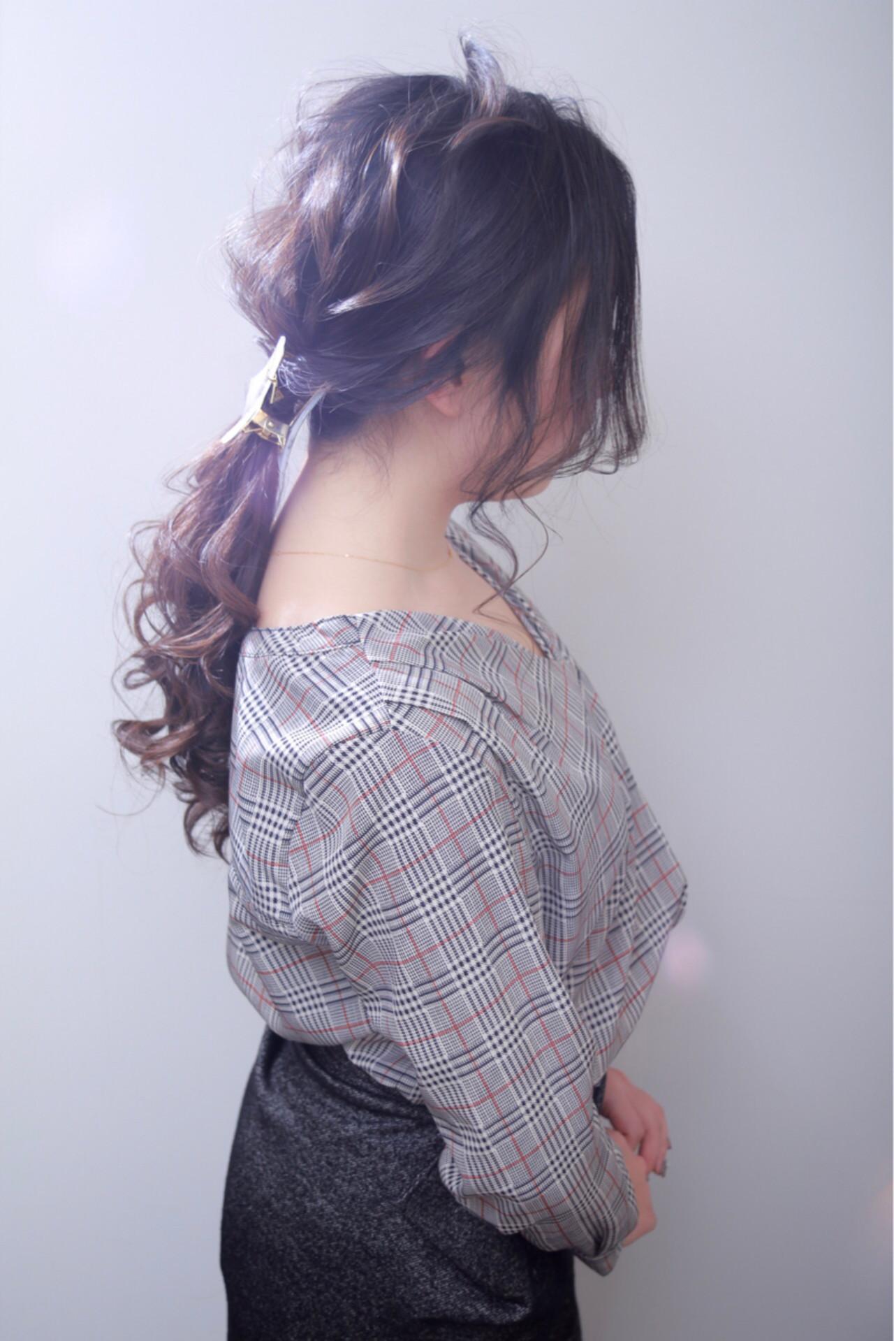 ヘアアレンジ 結婚式 ゆるふわ ポニーテール ヘアスタイルや髪型の写真・画像
